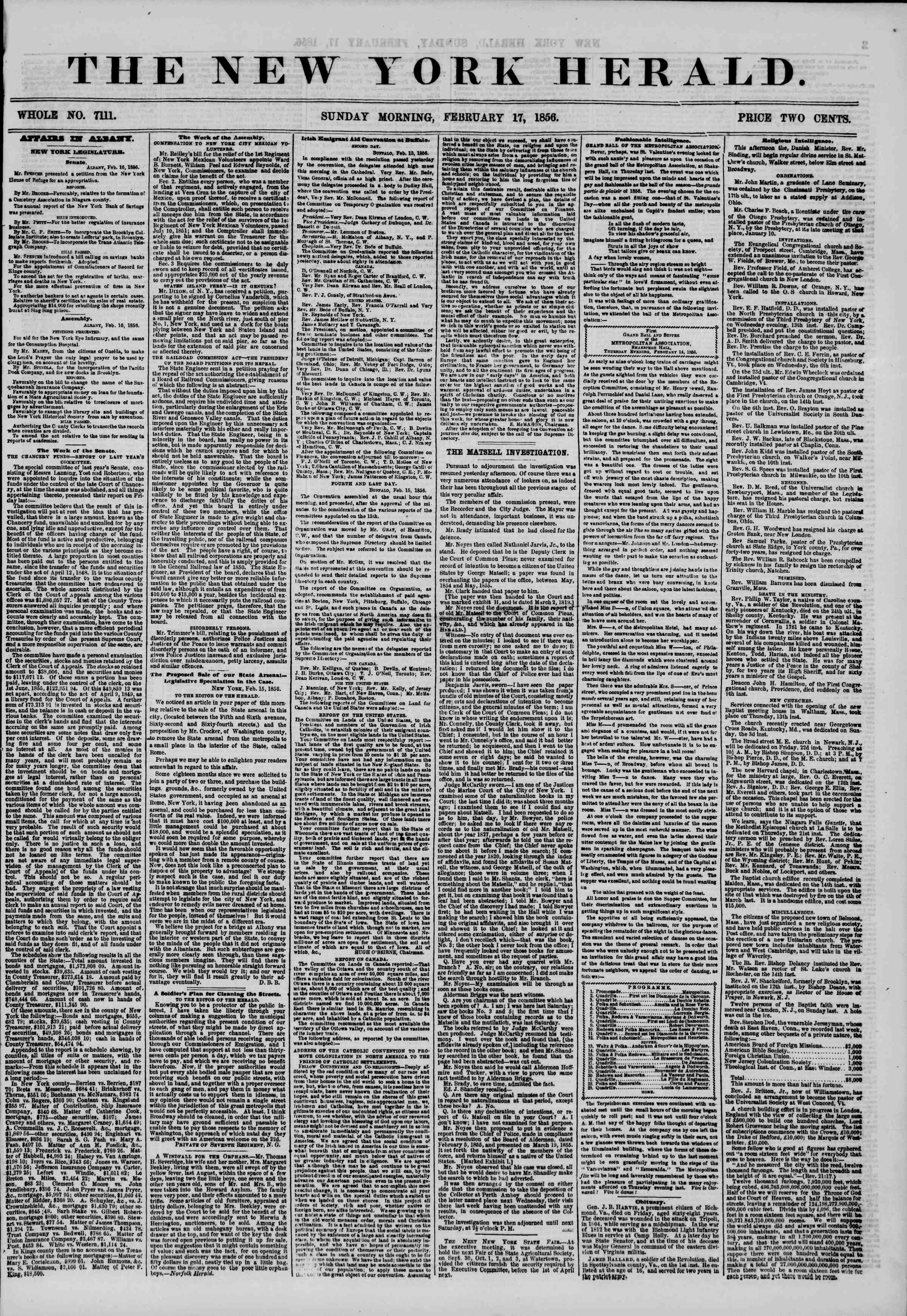Newspaper of The New York Herald dated February 17, 1856 Page 1