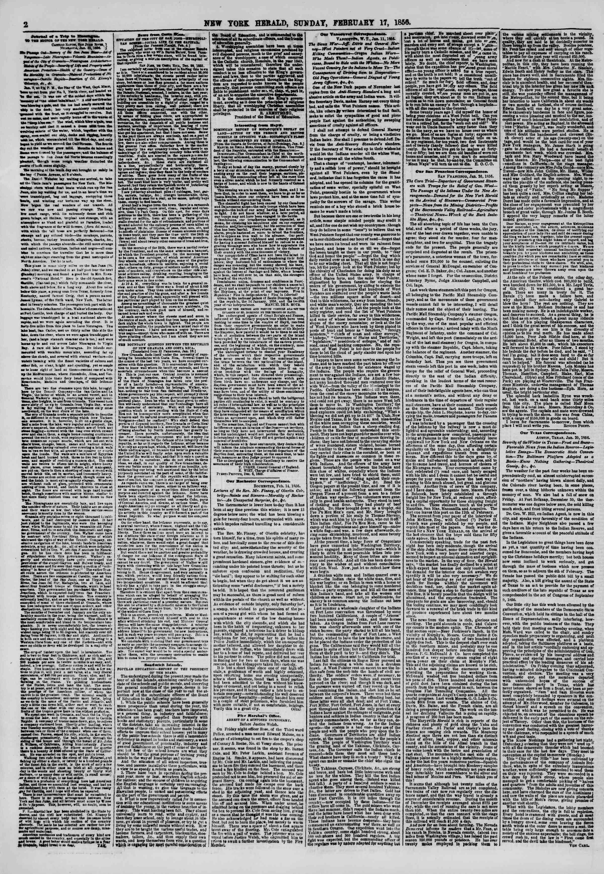 Newspaper of The New York Herald dated February 17, 1856 Page 2