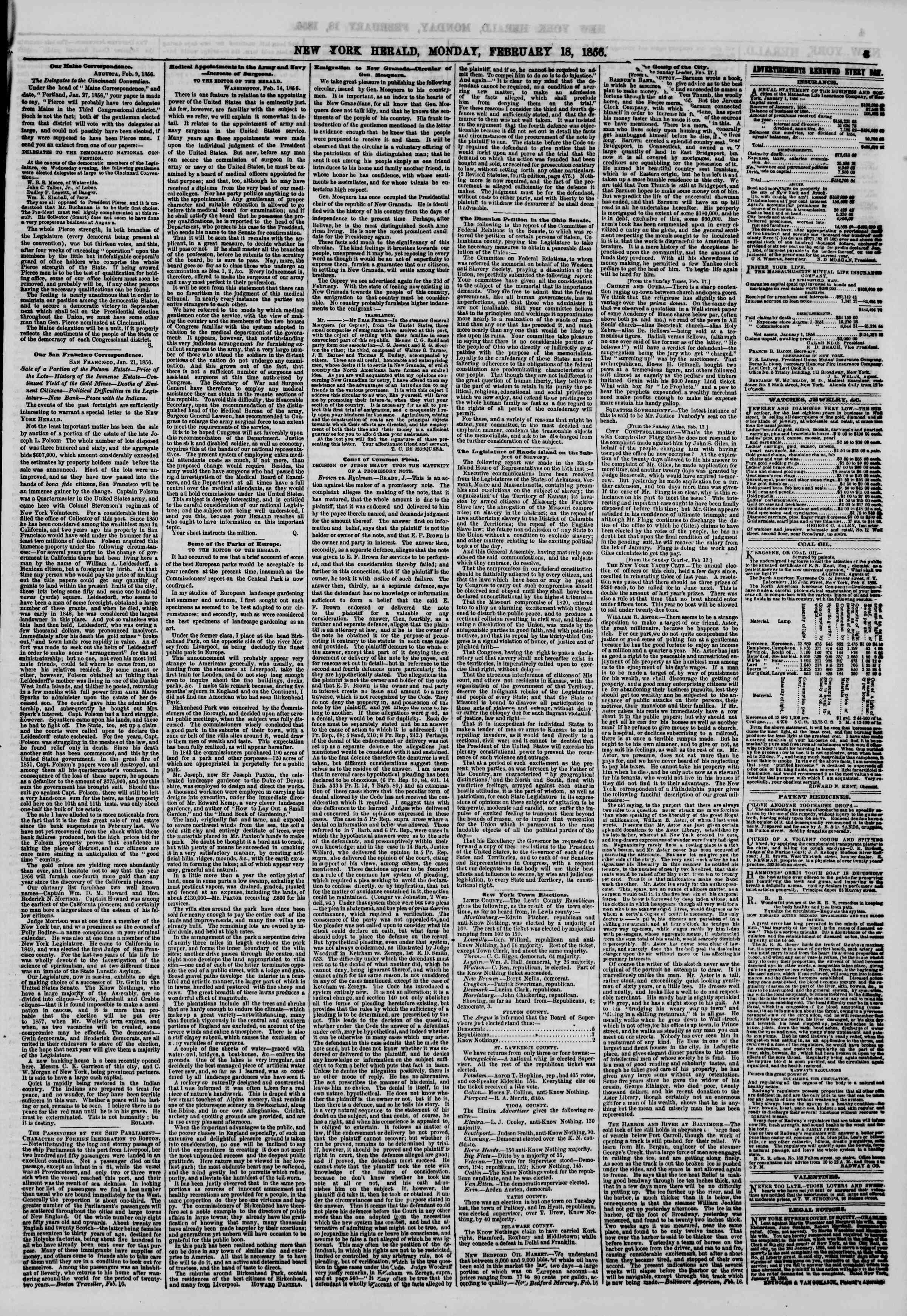 Newspaper of The New York Herald dated February 18, 1856 Page 3