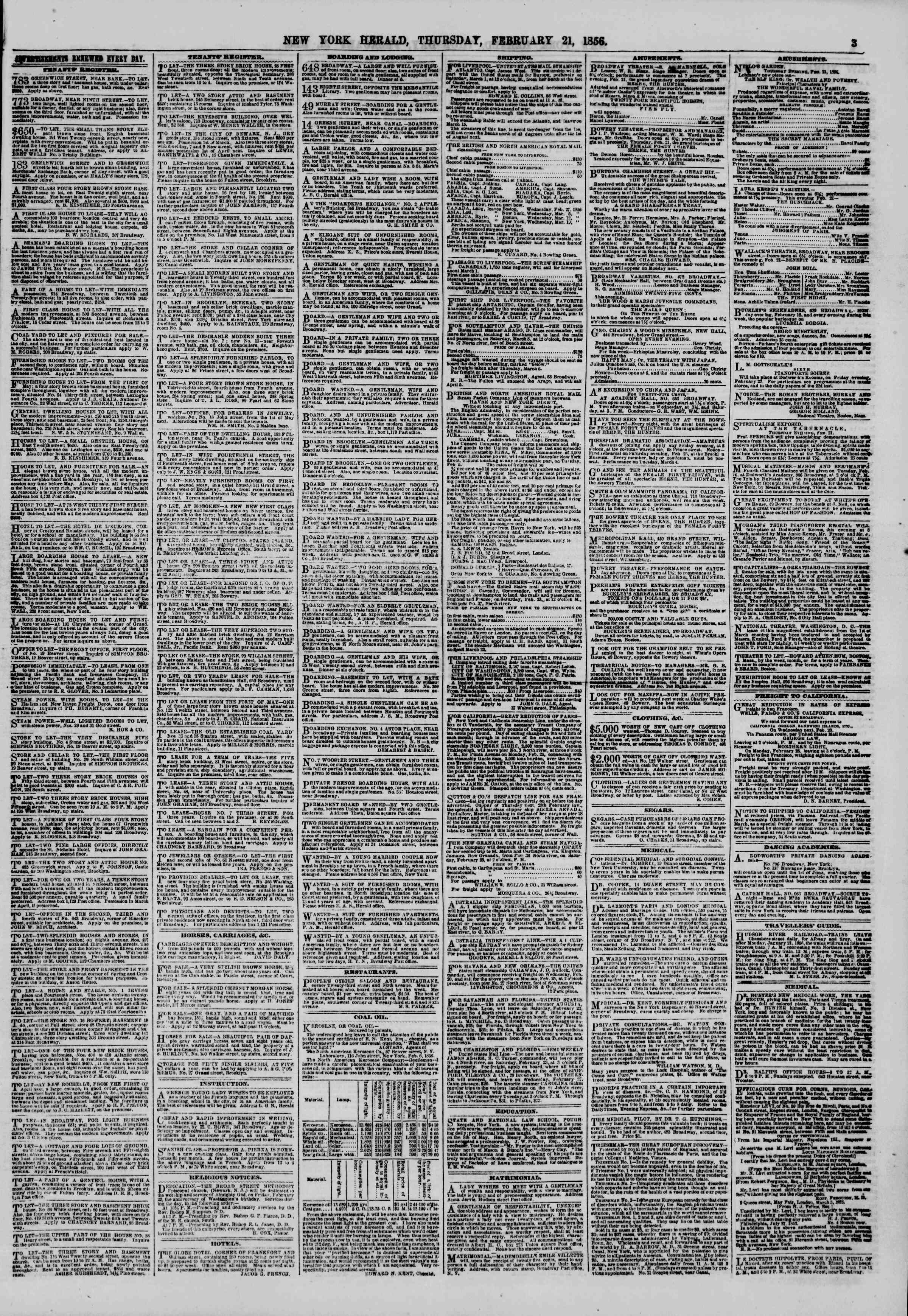 Newspaper of The New York Herald dated February 21, 1856 Page 3