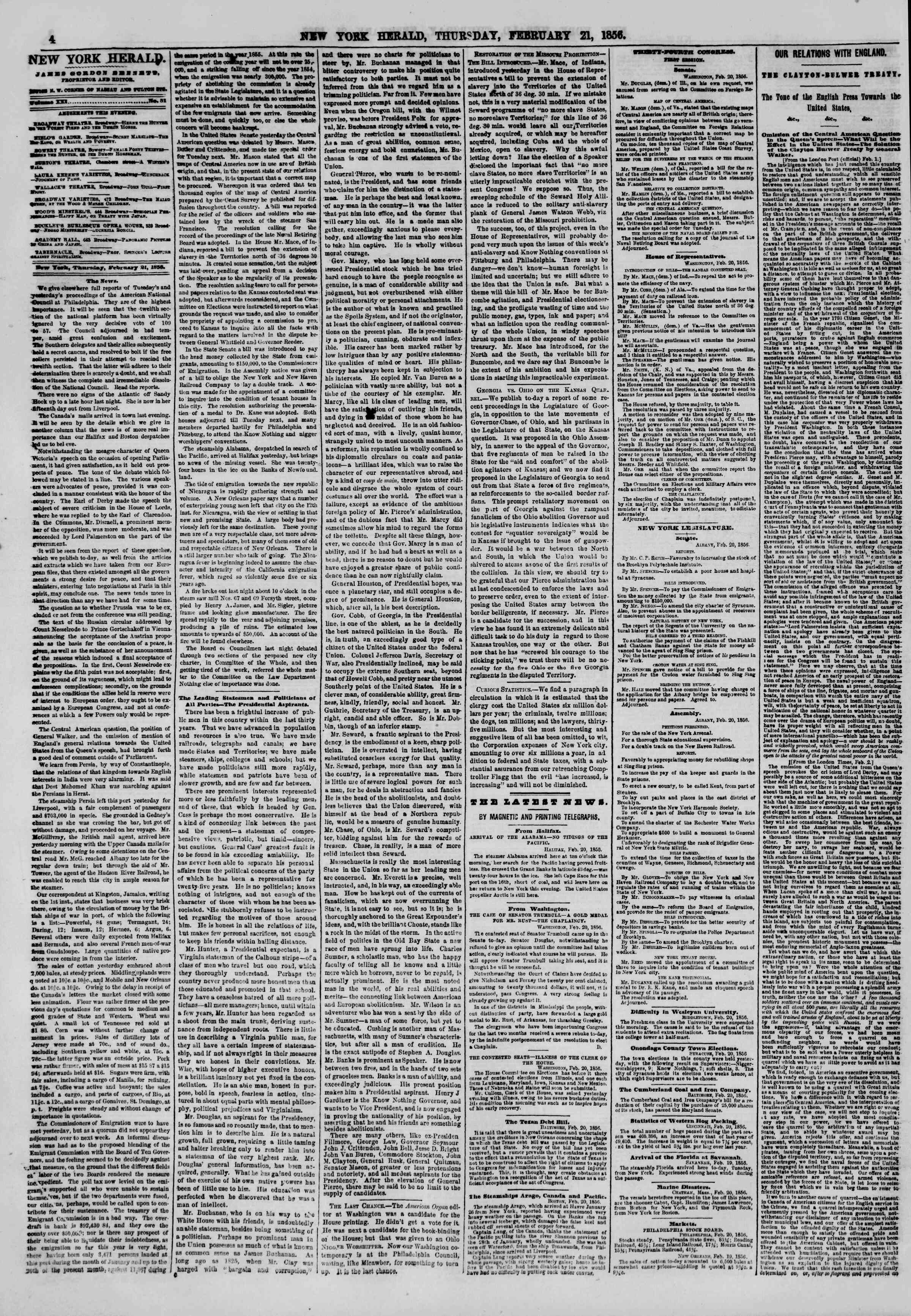 Newspaper of The New York Herald dated February 21, 1856 Page 4