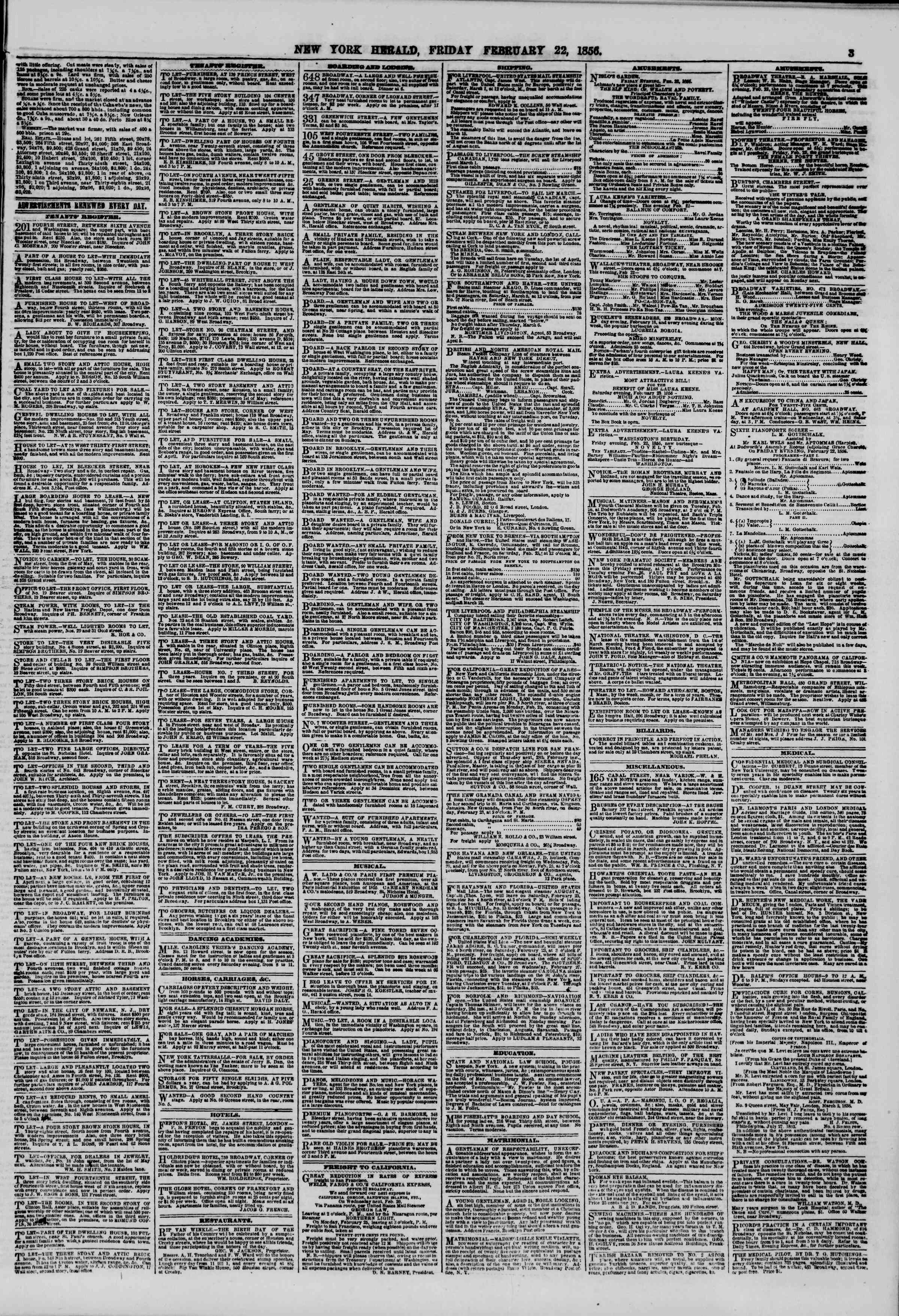 Newspaper of The New York Herald dated February 22, 1856 Page 3