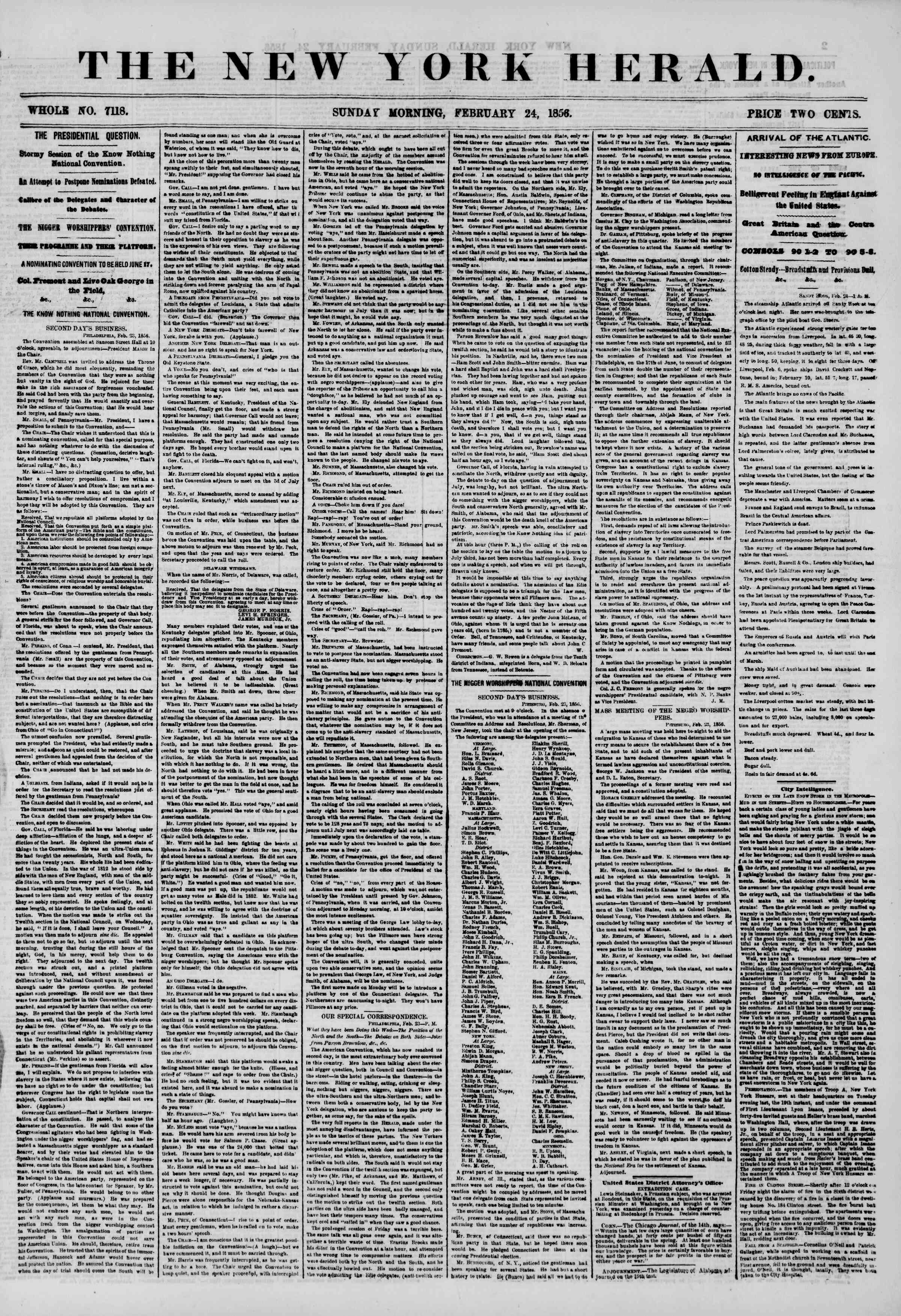 Newspaper of The New York Herald dated February 24, 1856 Page 1