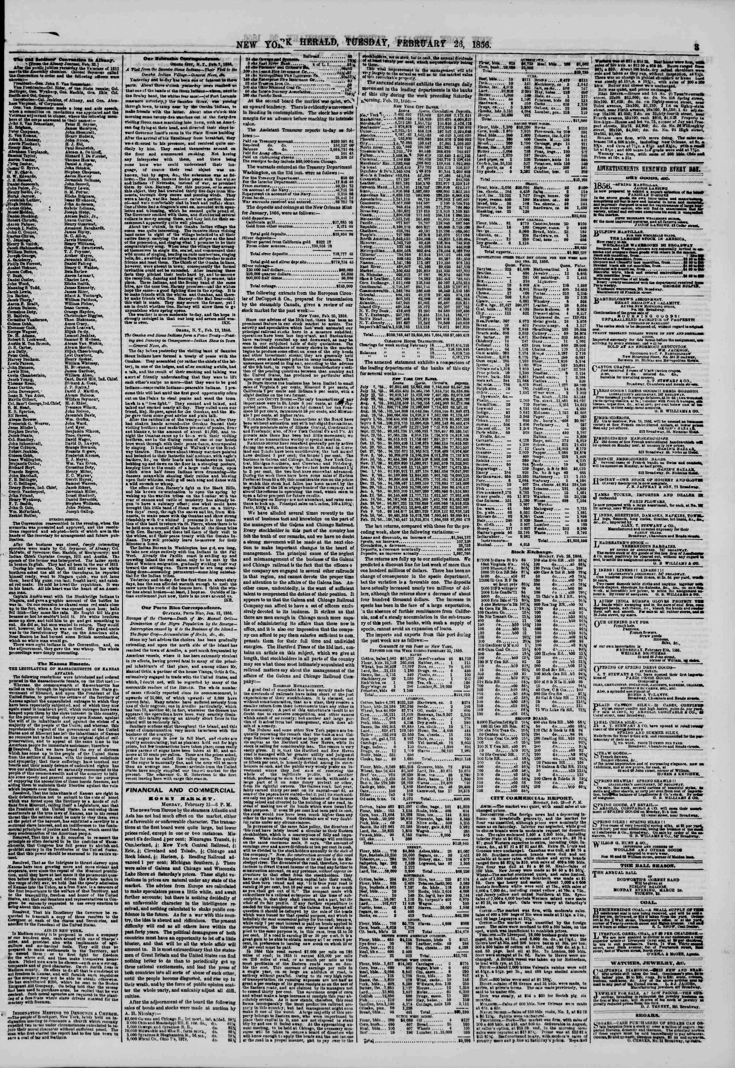 Newspaper of The New York Herald dated 26 Şubat 1856 Page 3