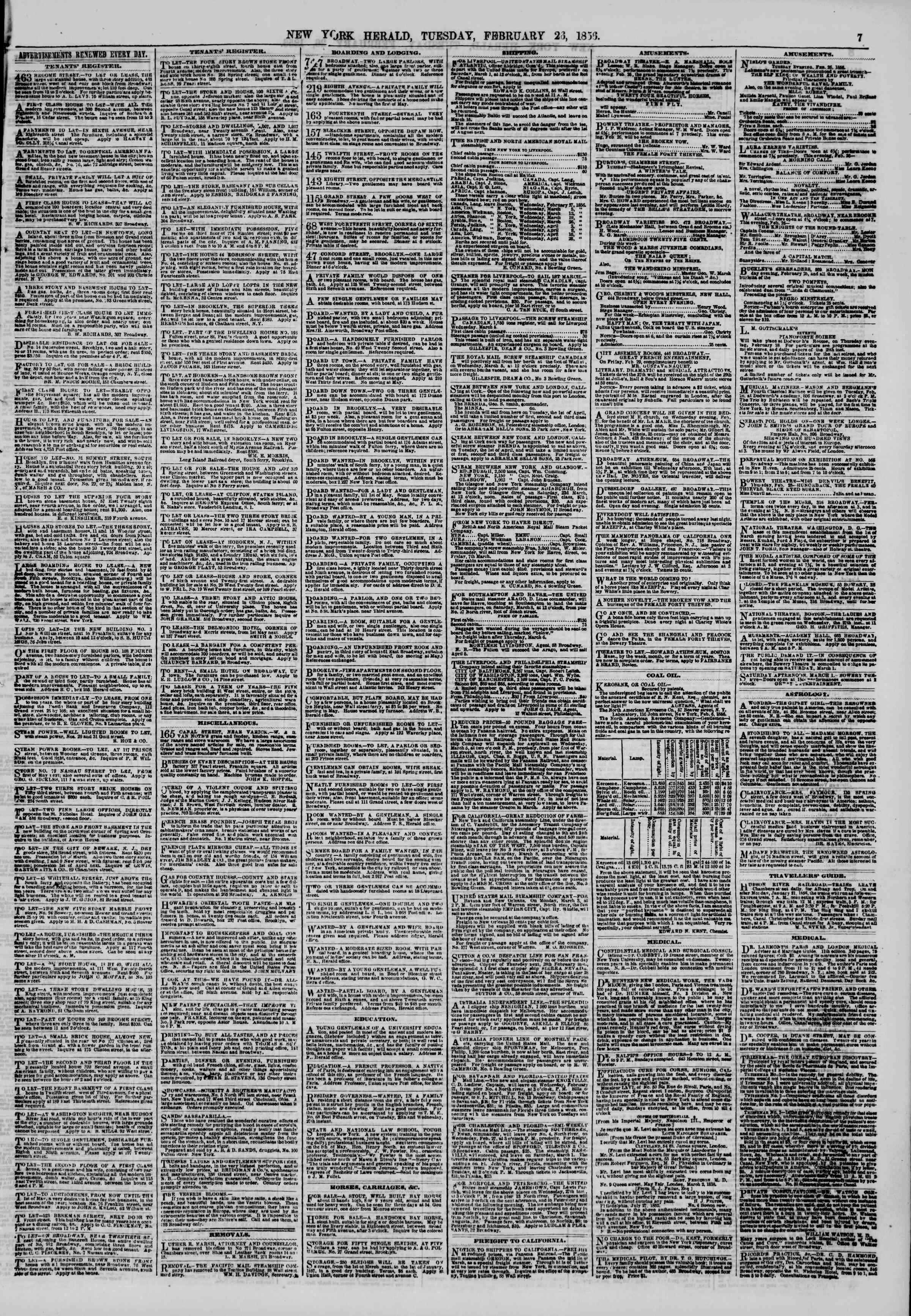 Newspaper of The New York Herald dated February 26, 1856 Page 7