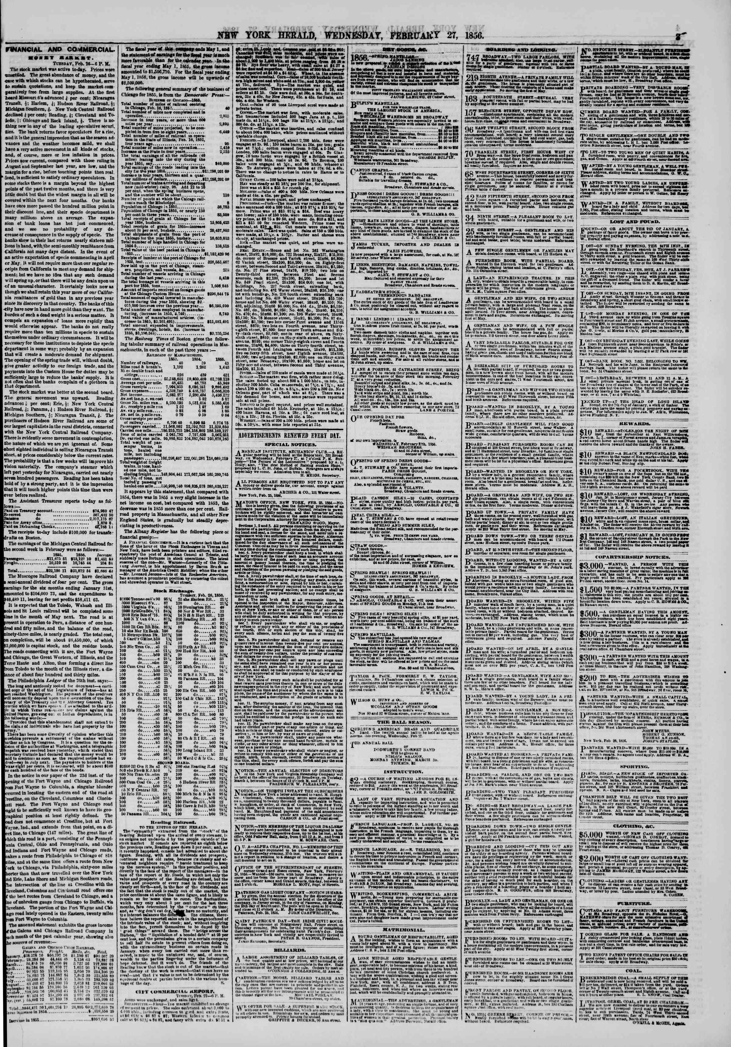Newspaper of The New York Herald dated February 27, 1856 Page 3