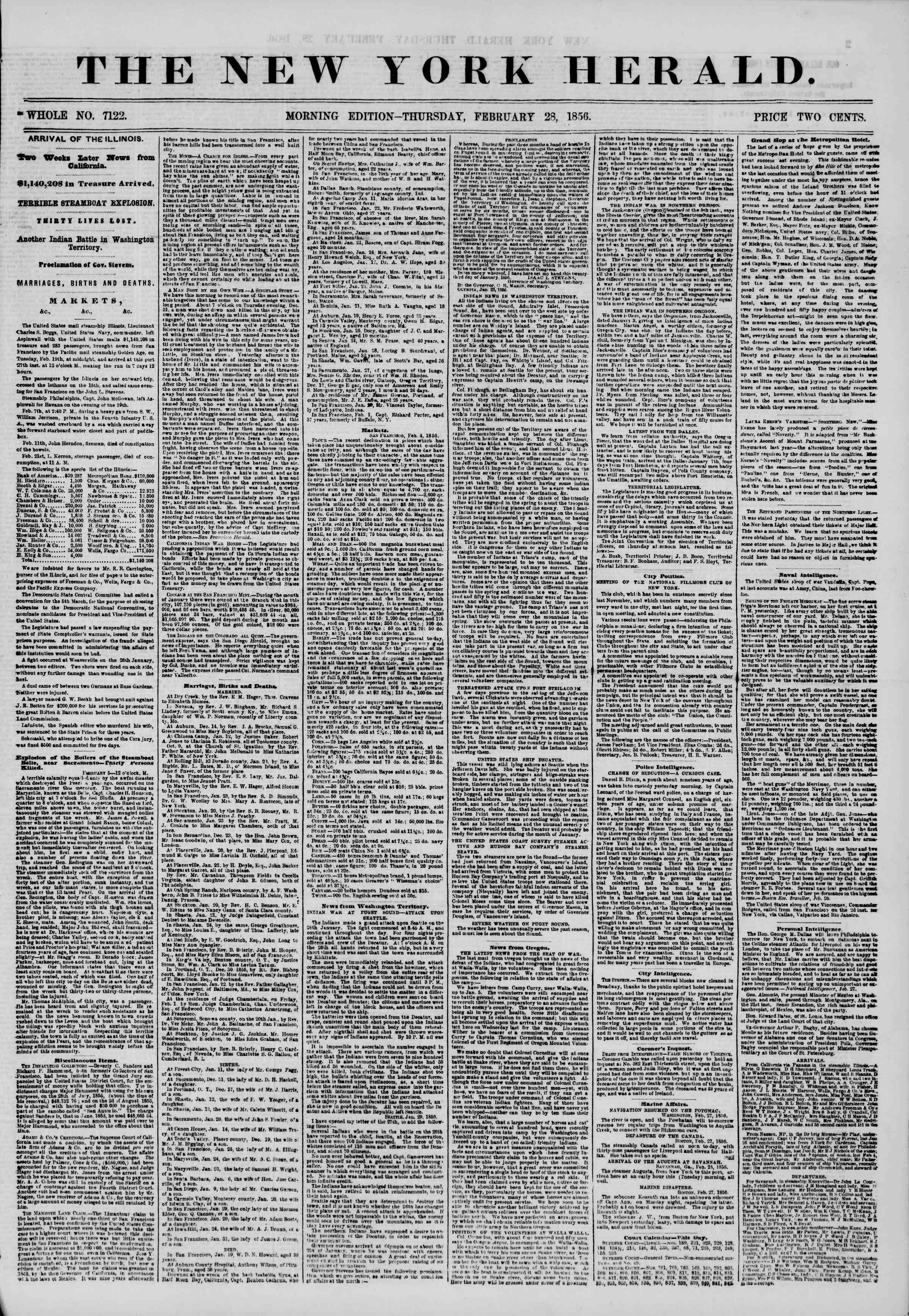 Newspaper of The New York Herald dated February 28, 1856 Page 1