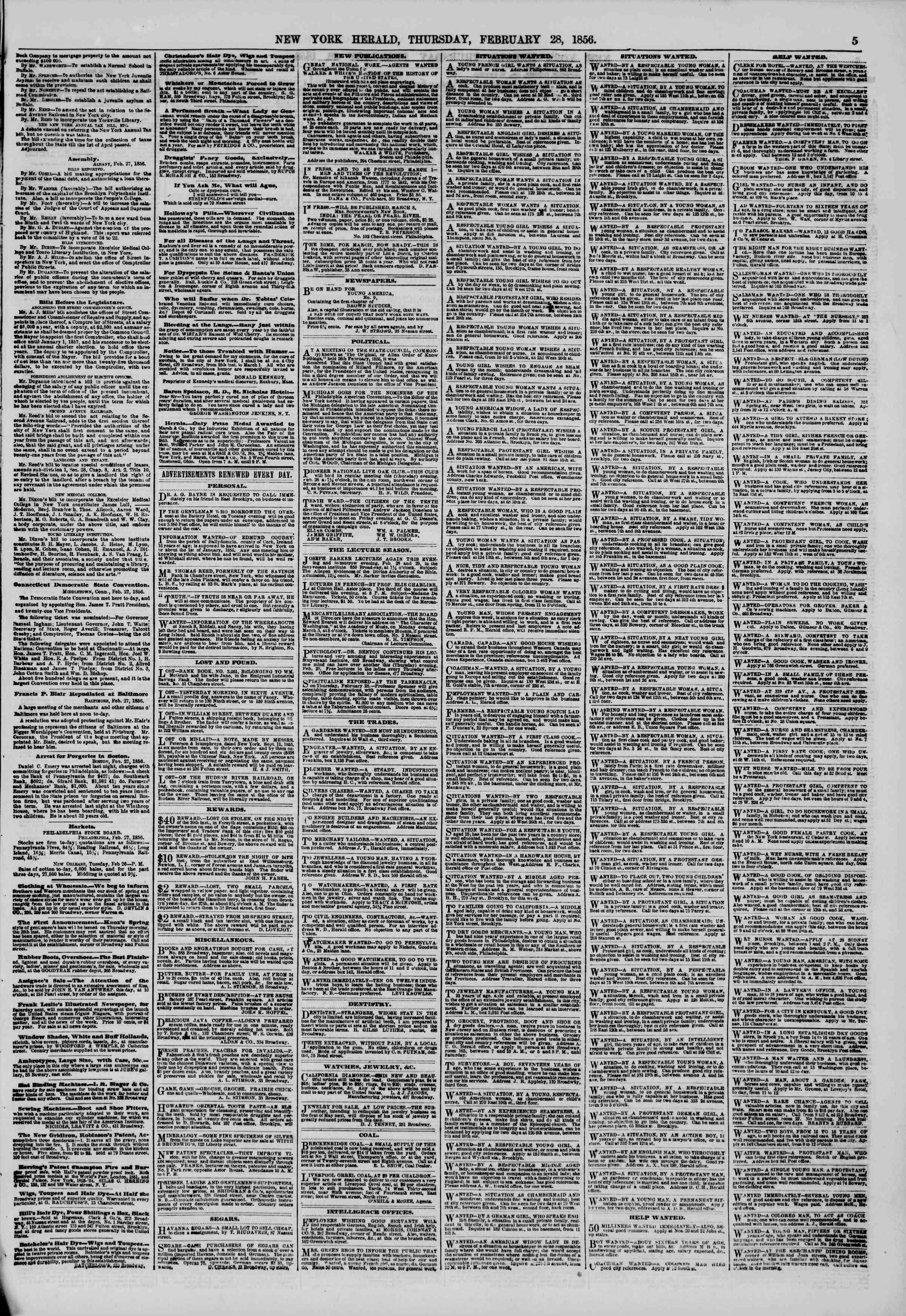 Newspaper of The New York Herald dated February 28, 1856 Page 5