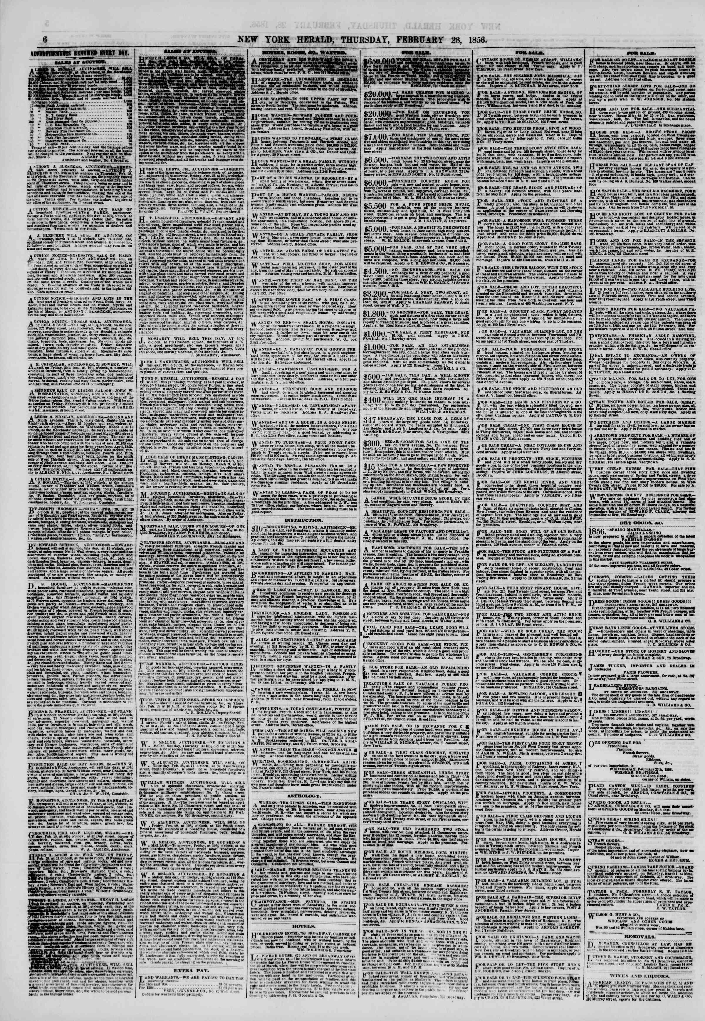 Newspaper of The New York Herald dated February 28, 1856 Page 6
