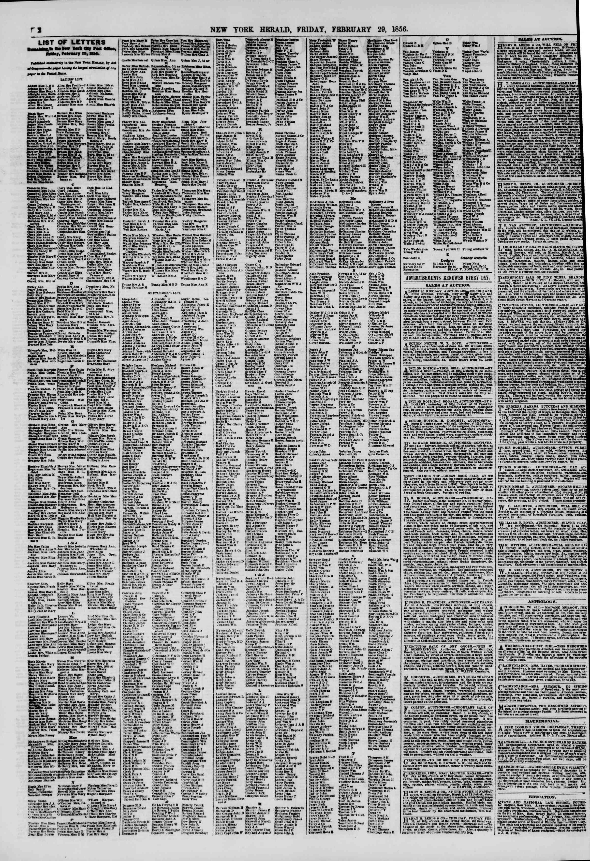 Newspaper of The New York Herald dated February 29, 1856 Page 2