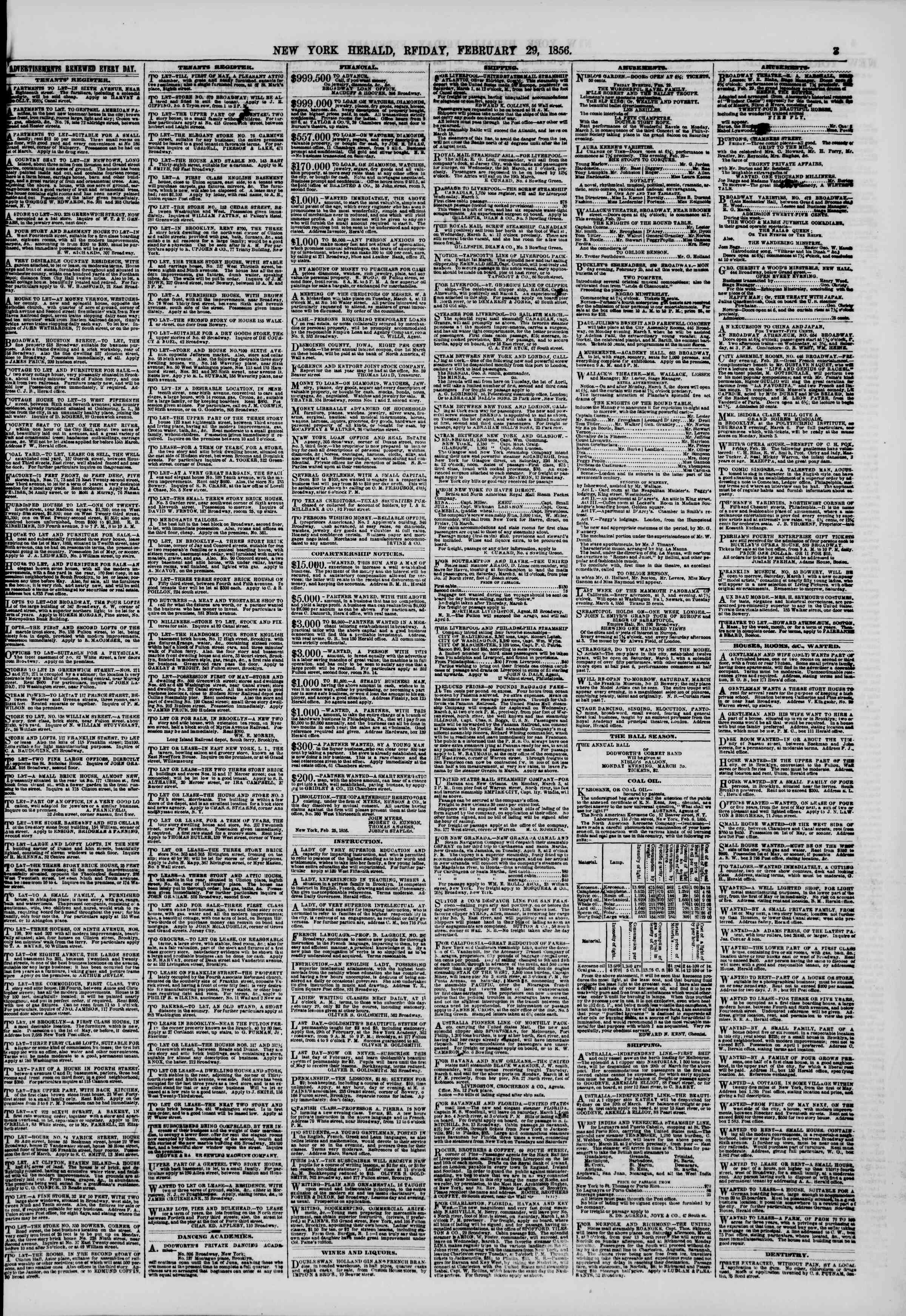 Newspaper of The New York Herald dated February 29, 1856 Page 3