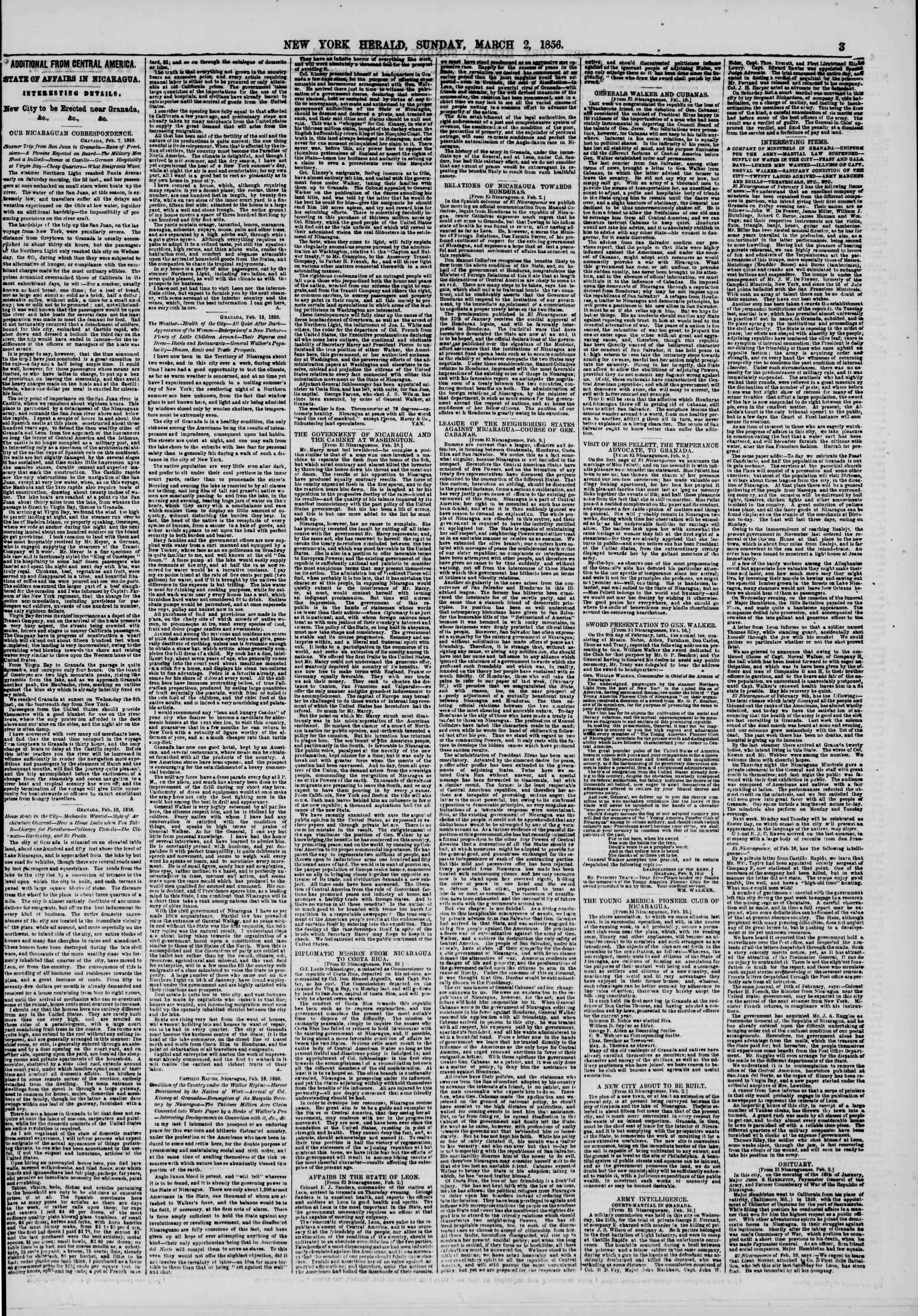 Newspaper of The New York Herald dated March 2, 1856 Page 3