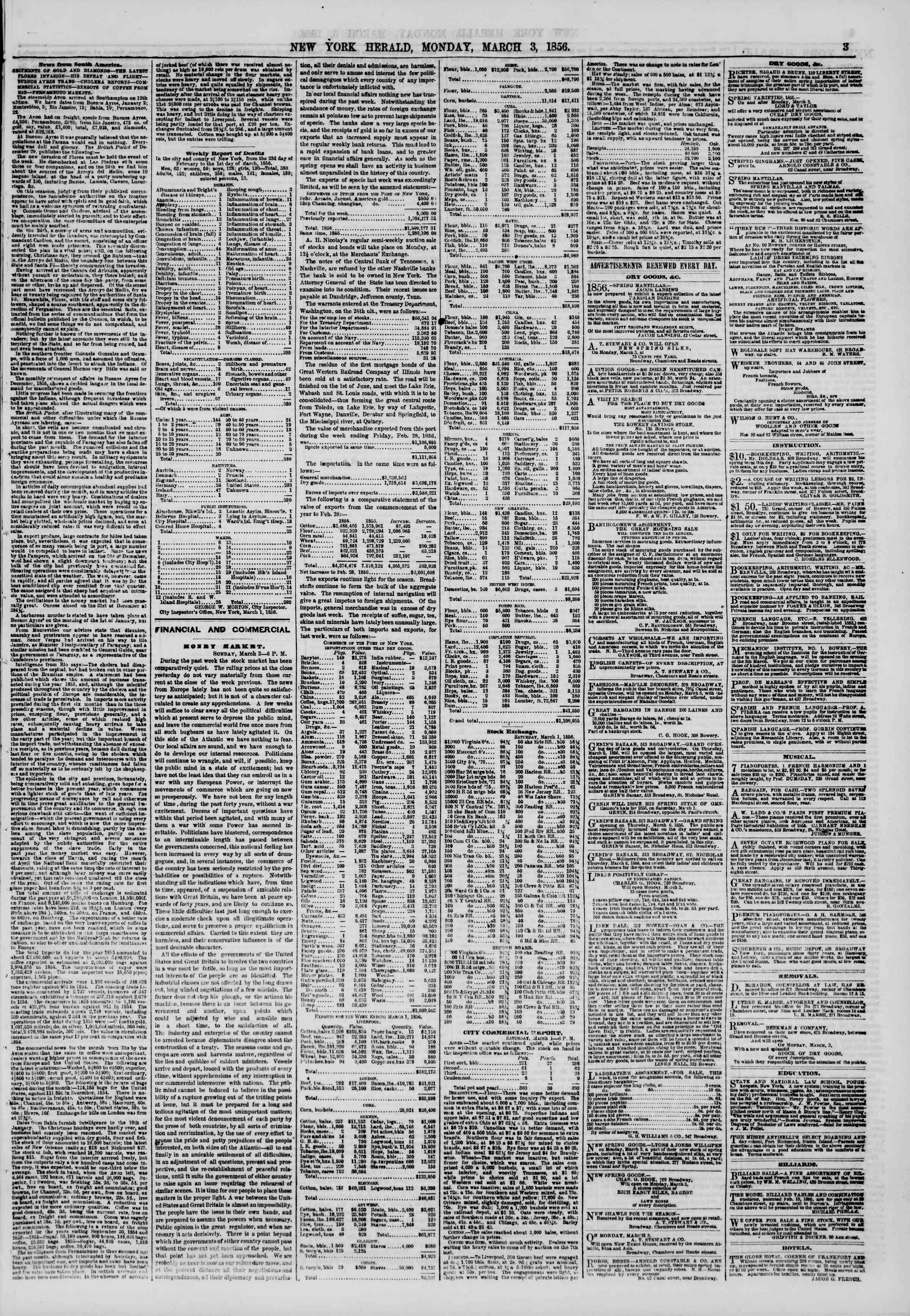Newspaper of The New York Herald dated March 3, 1856 Page 3