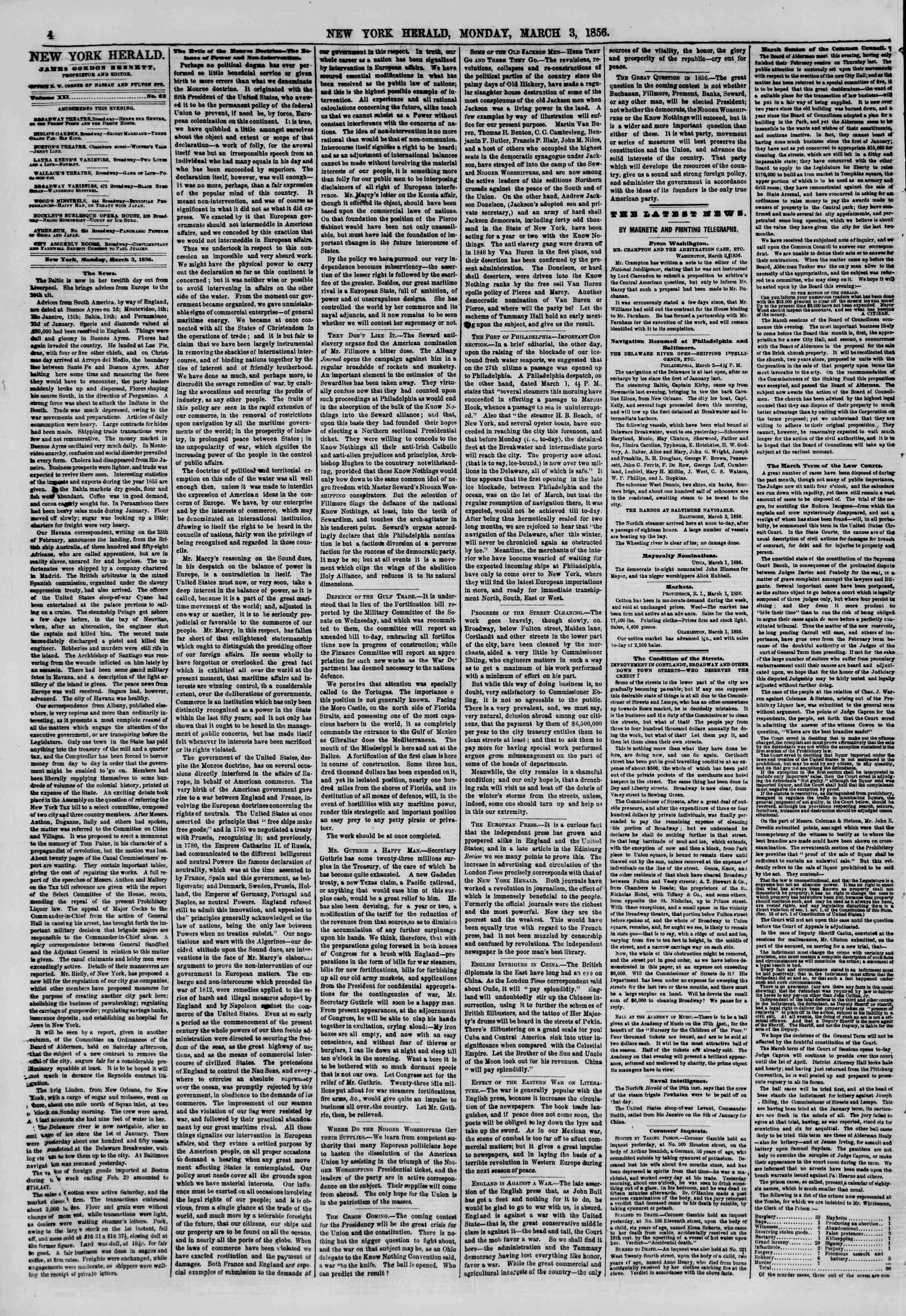 Newspaper of The New York Herald dated March 3, 1856 Page 4