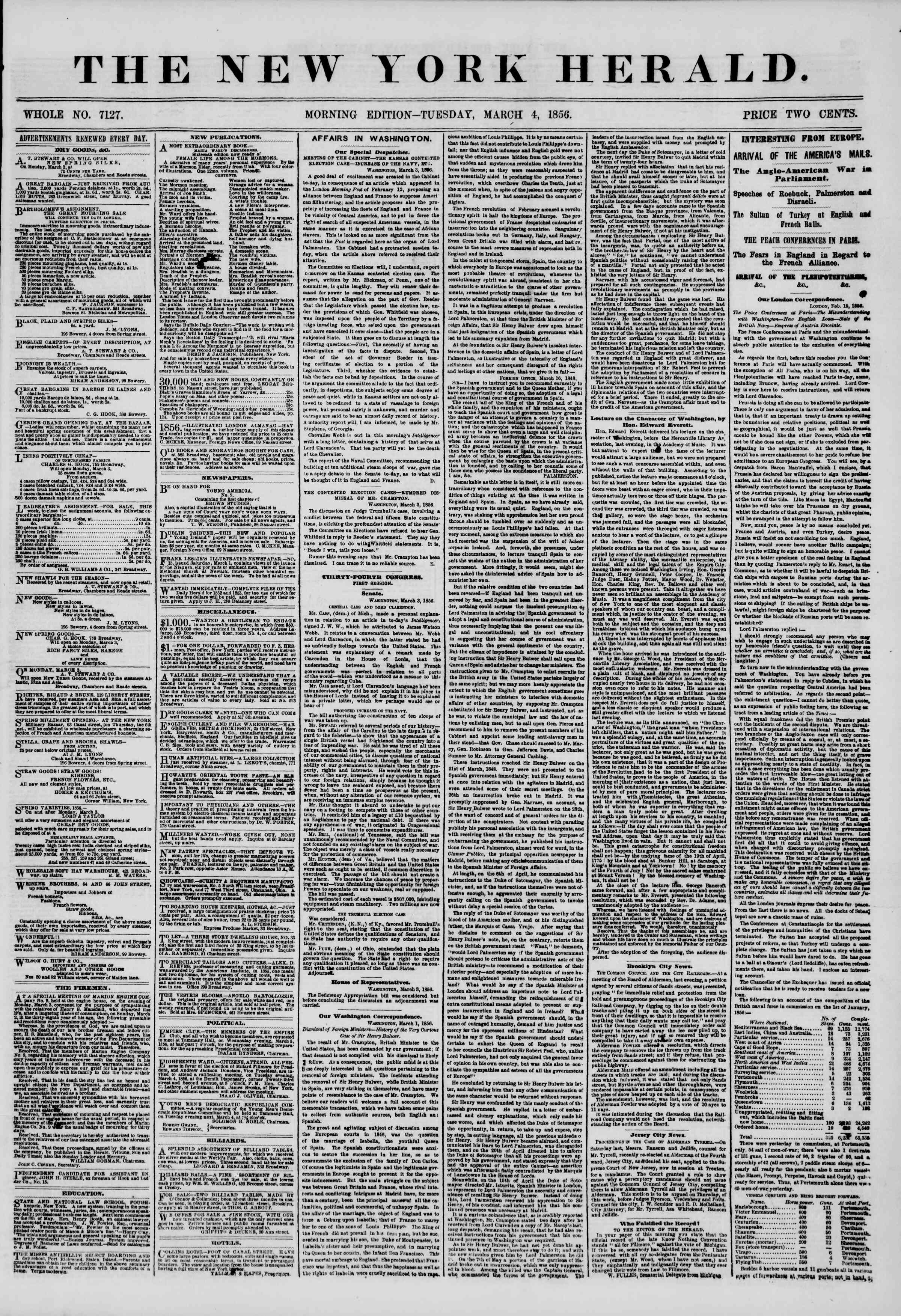Newspaper of The New York Herald dated March 4, 1856 Page 1