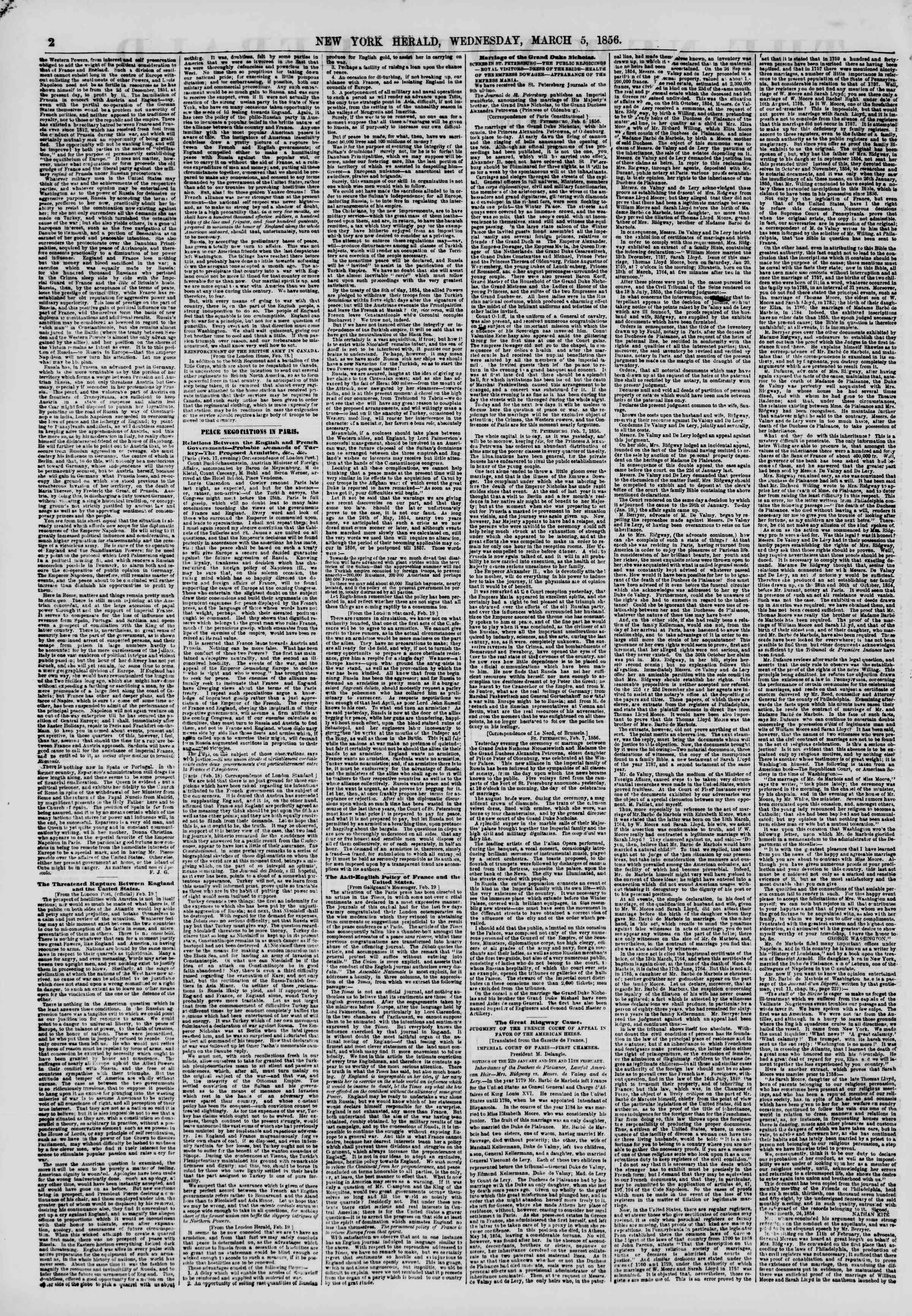 Newspaper of The New York Herald dated March 5, 1856 Page 2