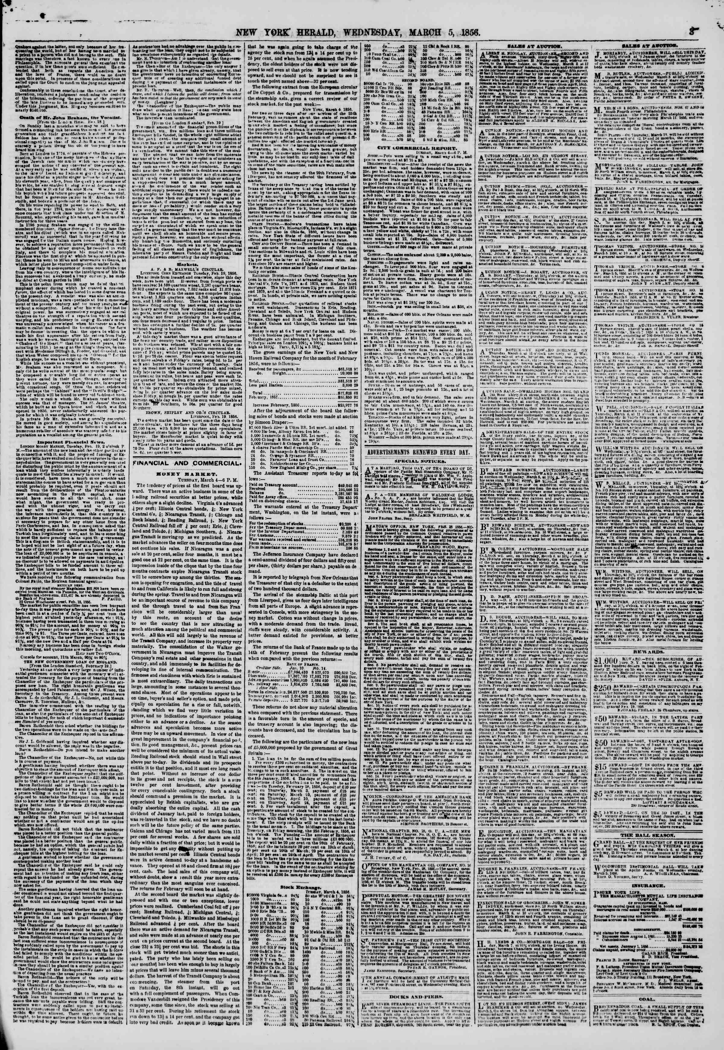 Newspaper of The New York Herald dated March 5, 1856 Page 3