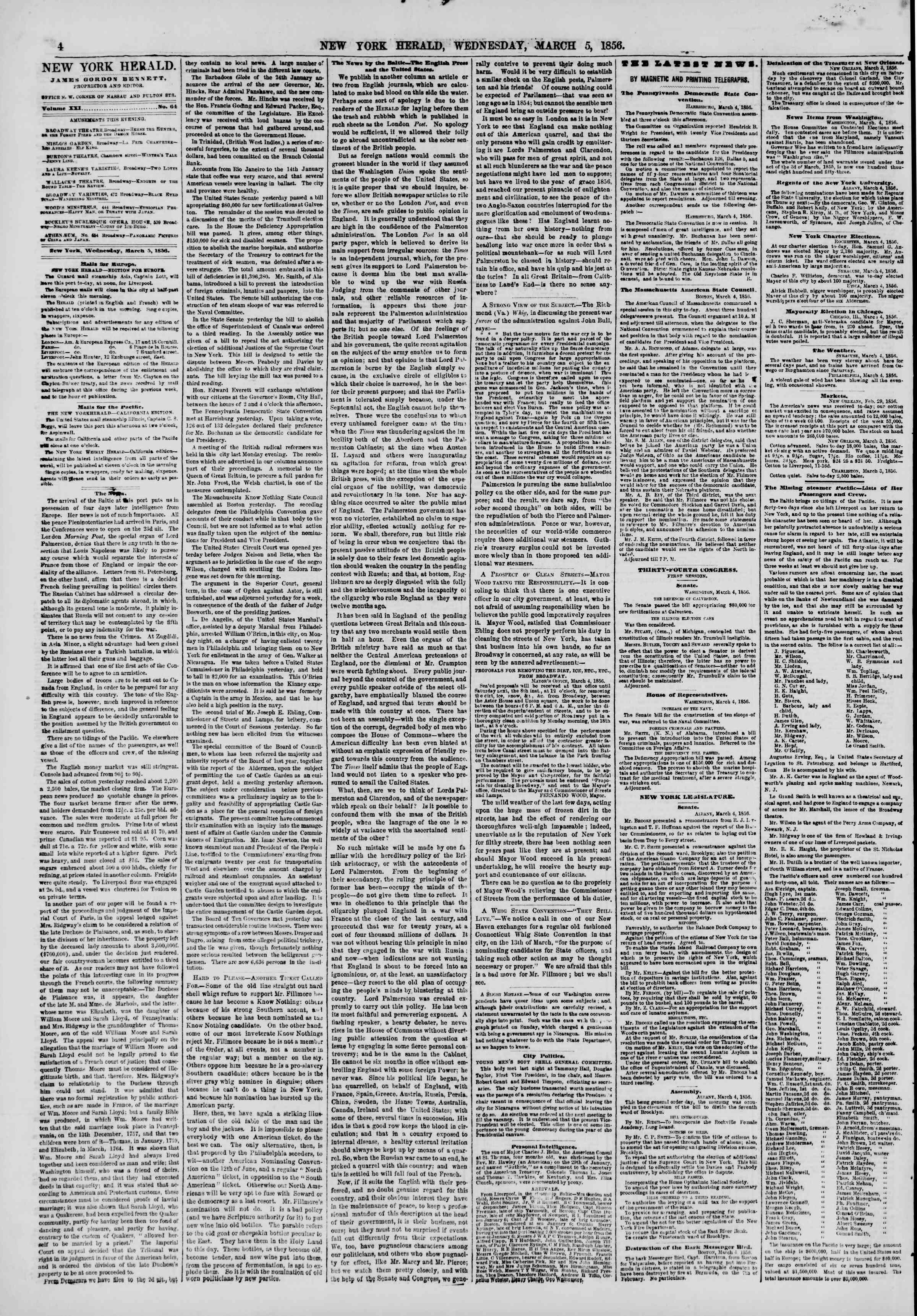 Newspaper of The New York Herald dated March 5, 1856 Page 4