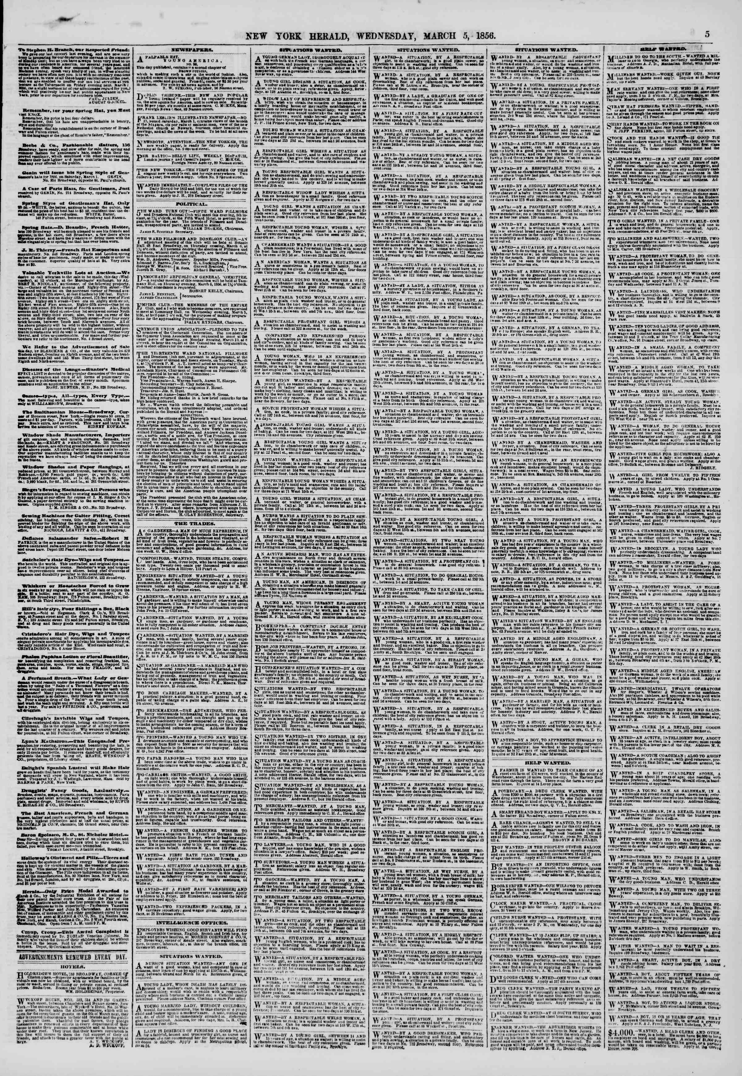 Newspaper of The New York Herald dated March 5, 1856 Page 5