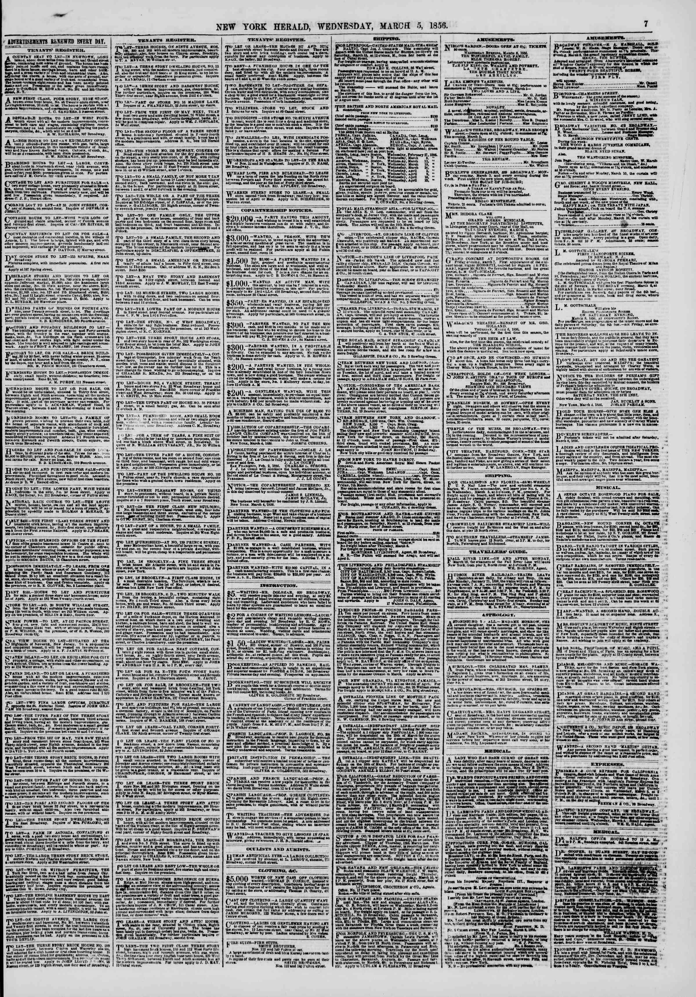 Newspaper of The New York Herald dated March 5, 1856 Page 7