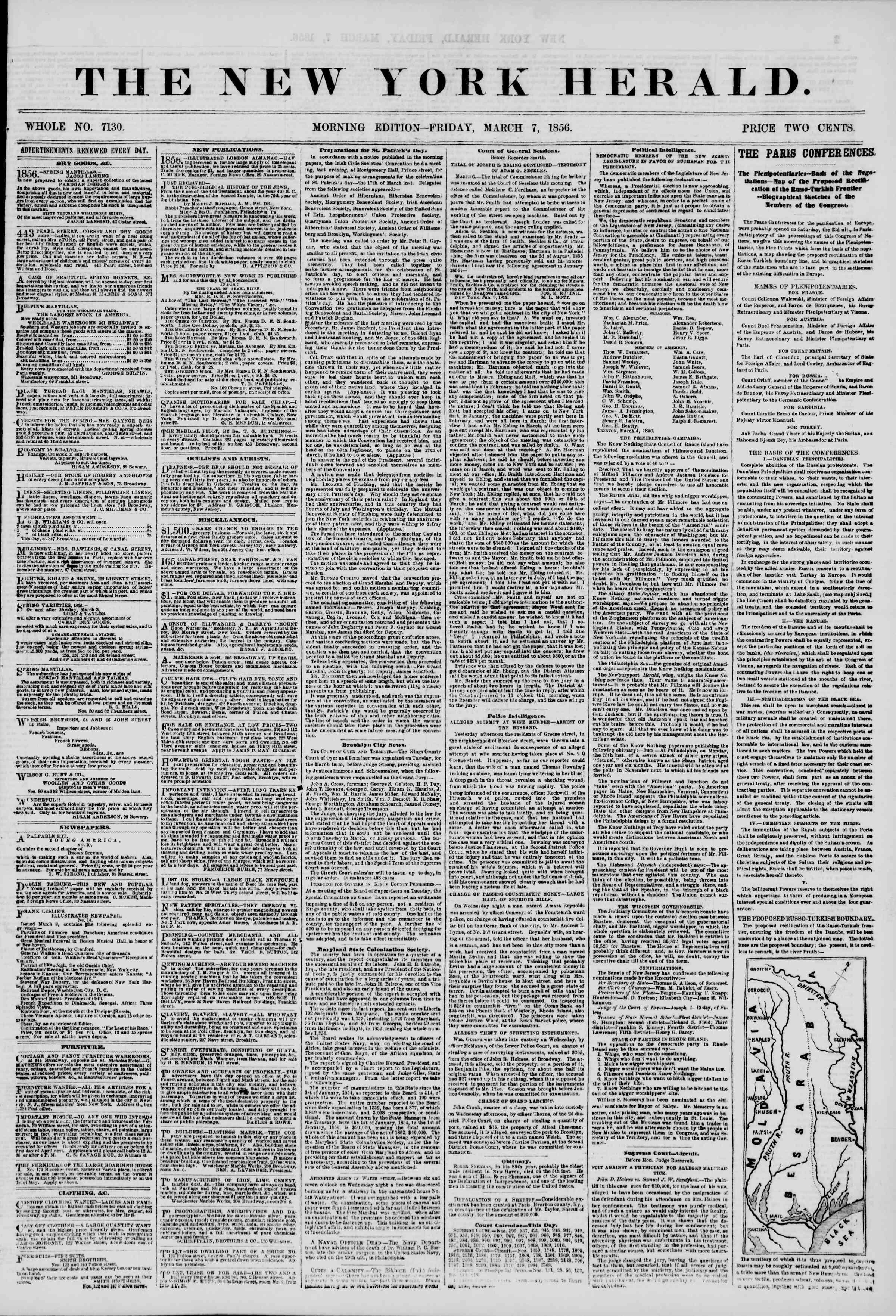 Newspaper of The New York Herald dated March 7, 1856 Page 1
