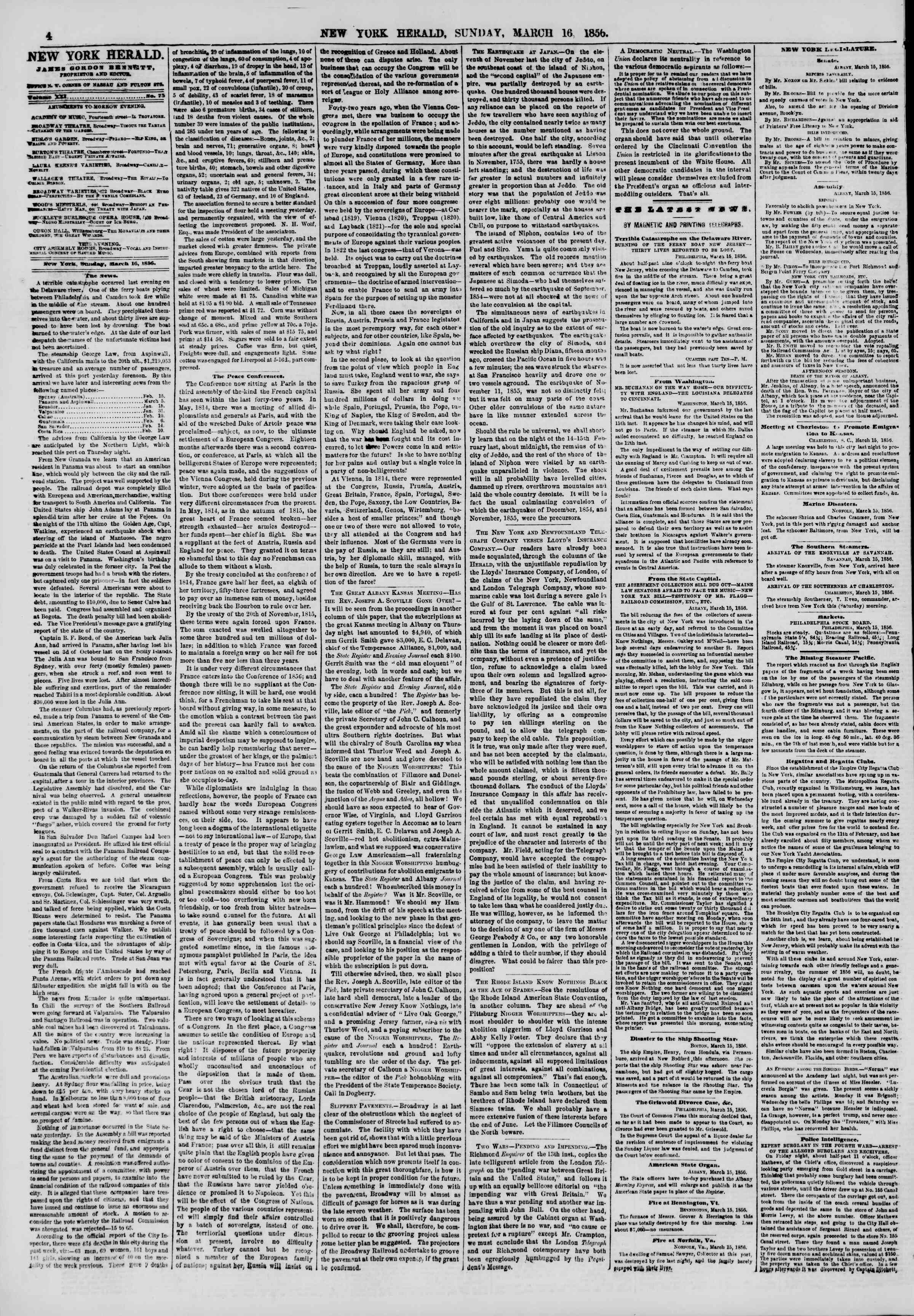 Newspaper of The New York Herald dated March 16, 1856 Page 4