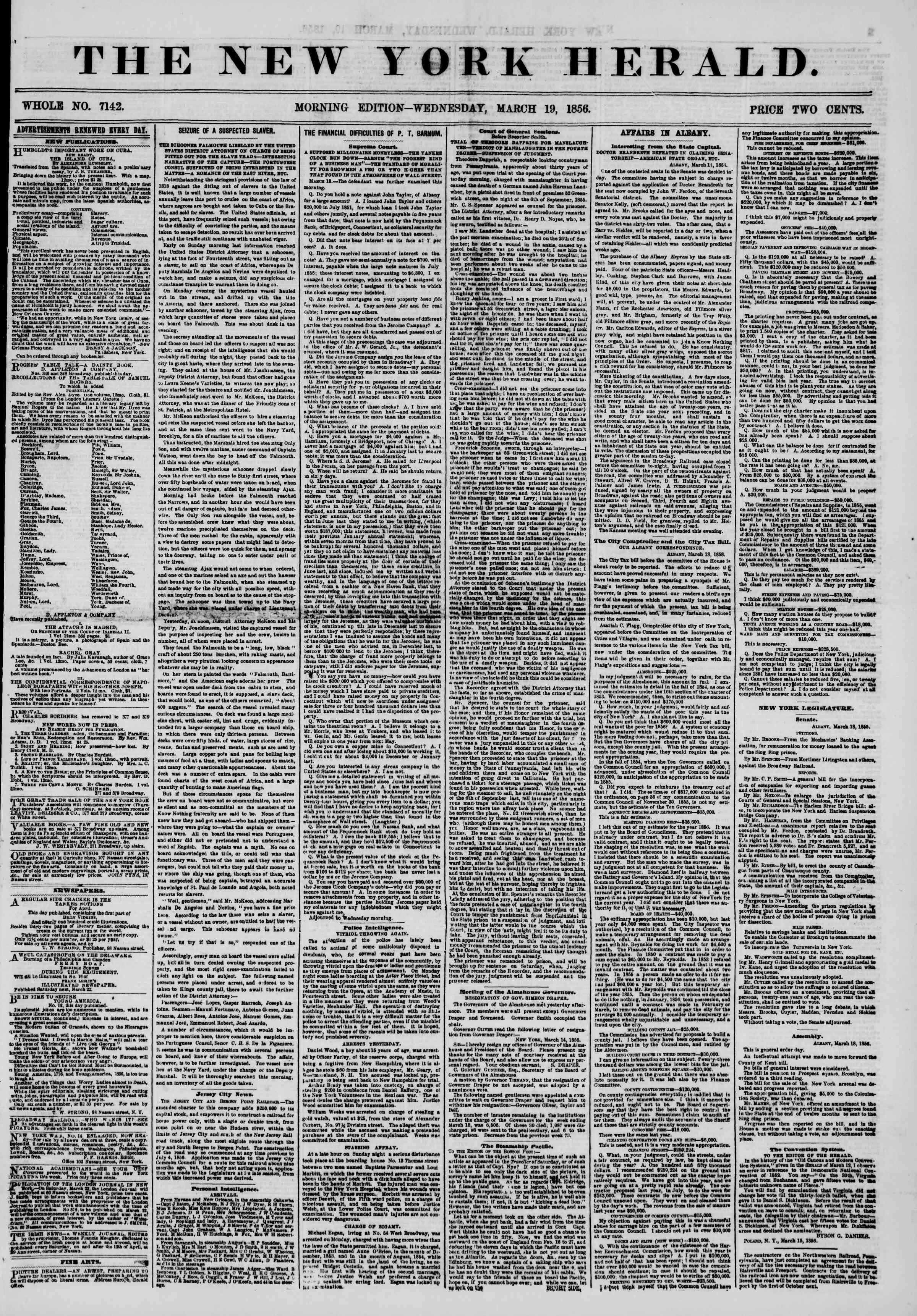 Newspaper of The New York Herald dated March 19, 1856 Page 1