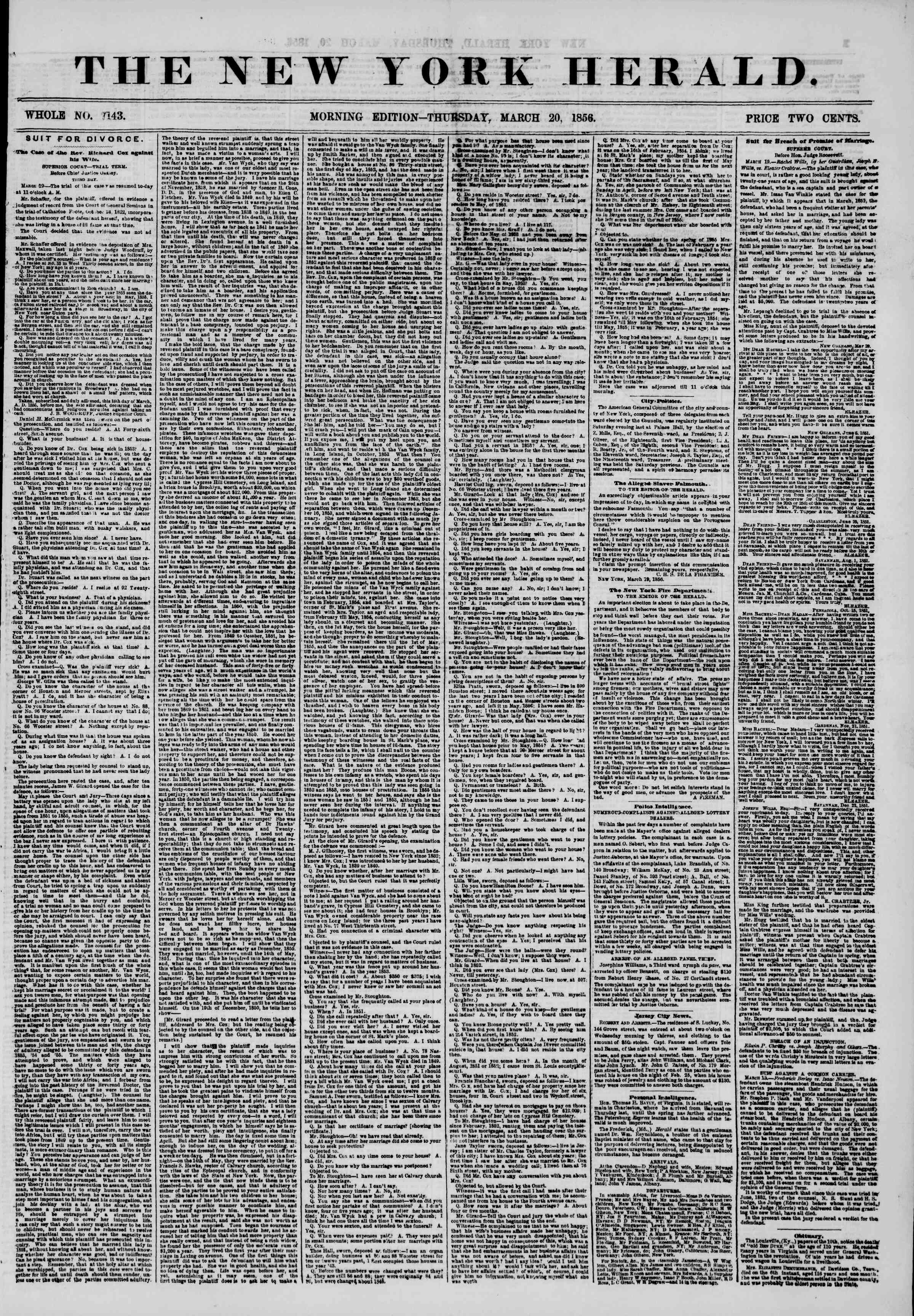 Newspaper of The New York Herald dated March 20, 1856 Page 1