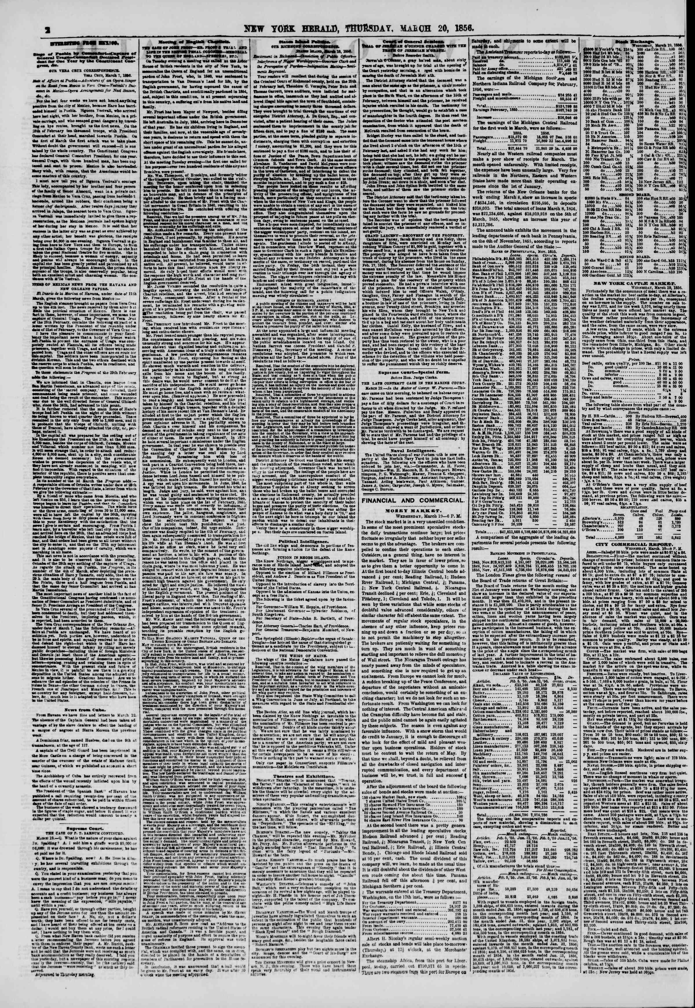 Newspaper of The New York Herald dated March 20, 1856 Page 2