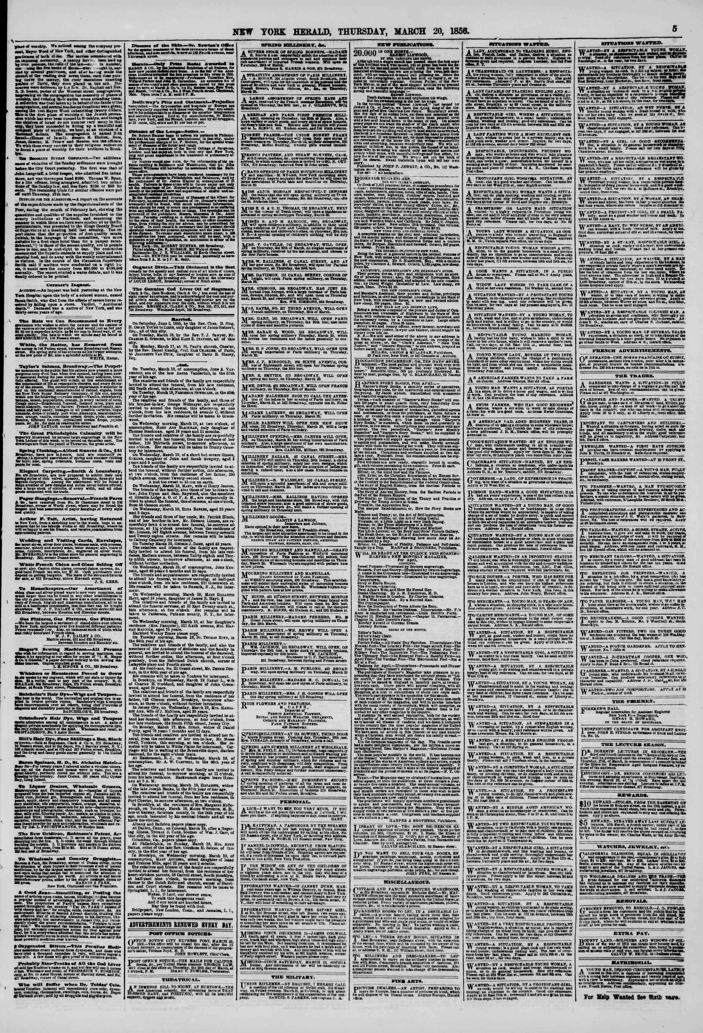 Newspaper of The New York Herald dated March 20, 1856 Page 5