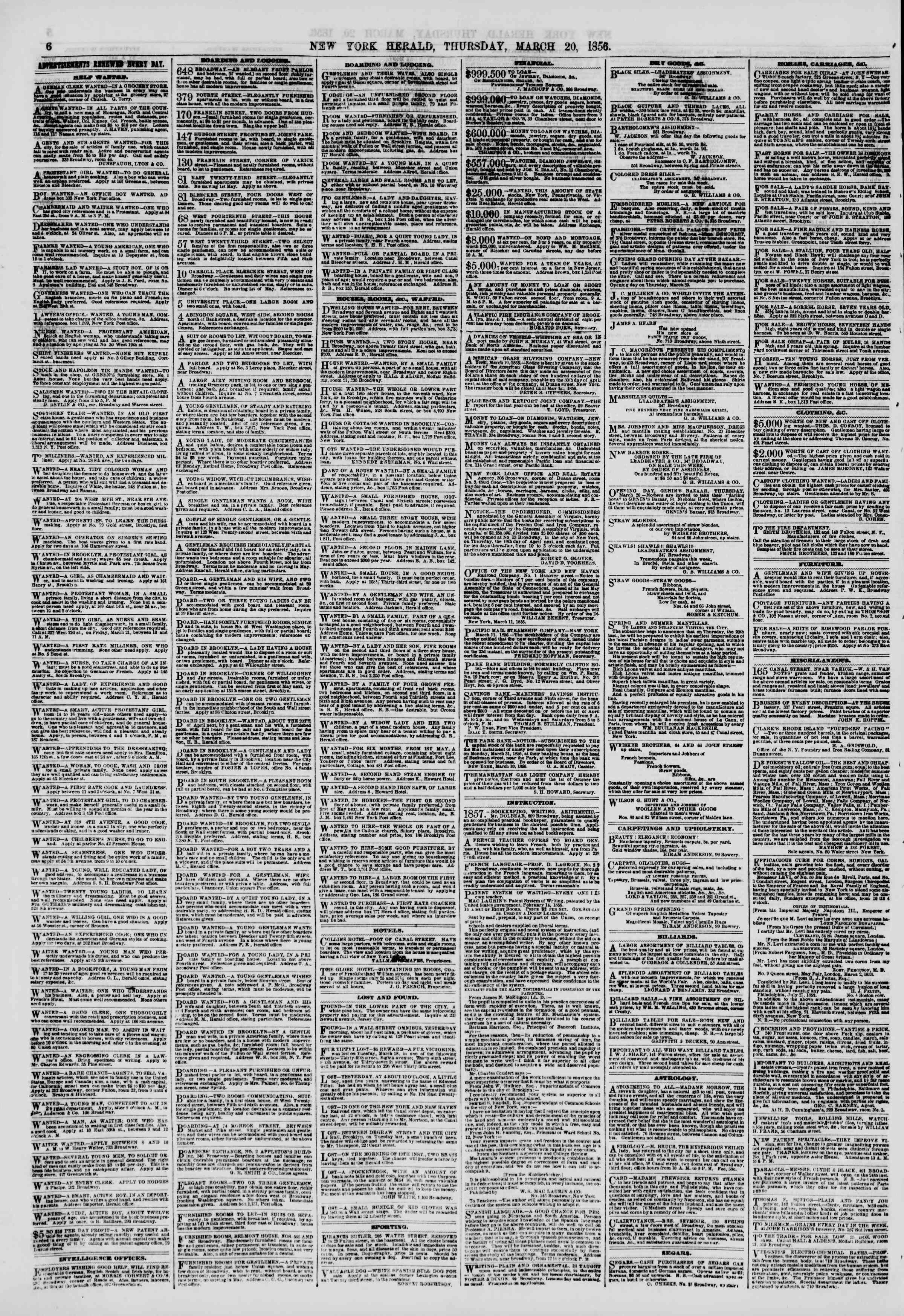 Newspaper of The New York Herald dated March 20, 1856 Page 6