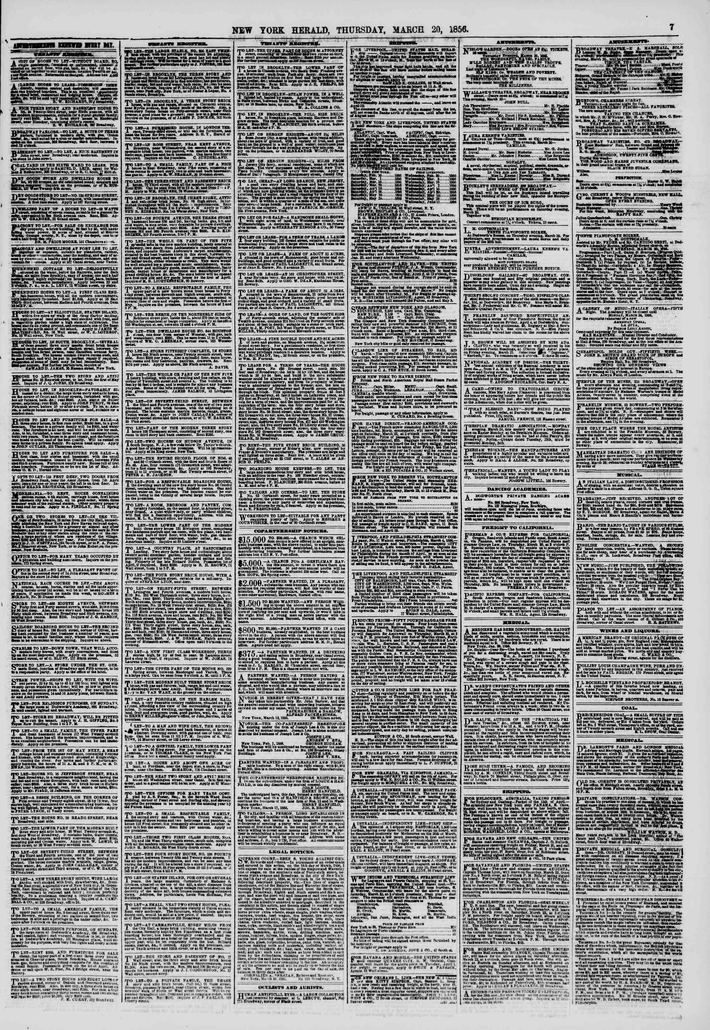 Newspaper of The New York Herald dated March 20, 1856 Page 7