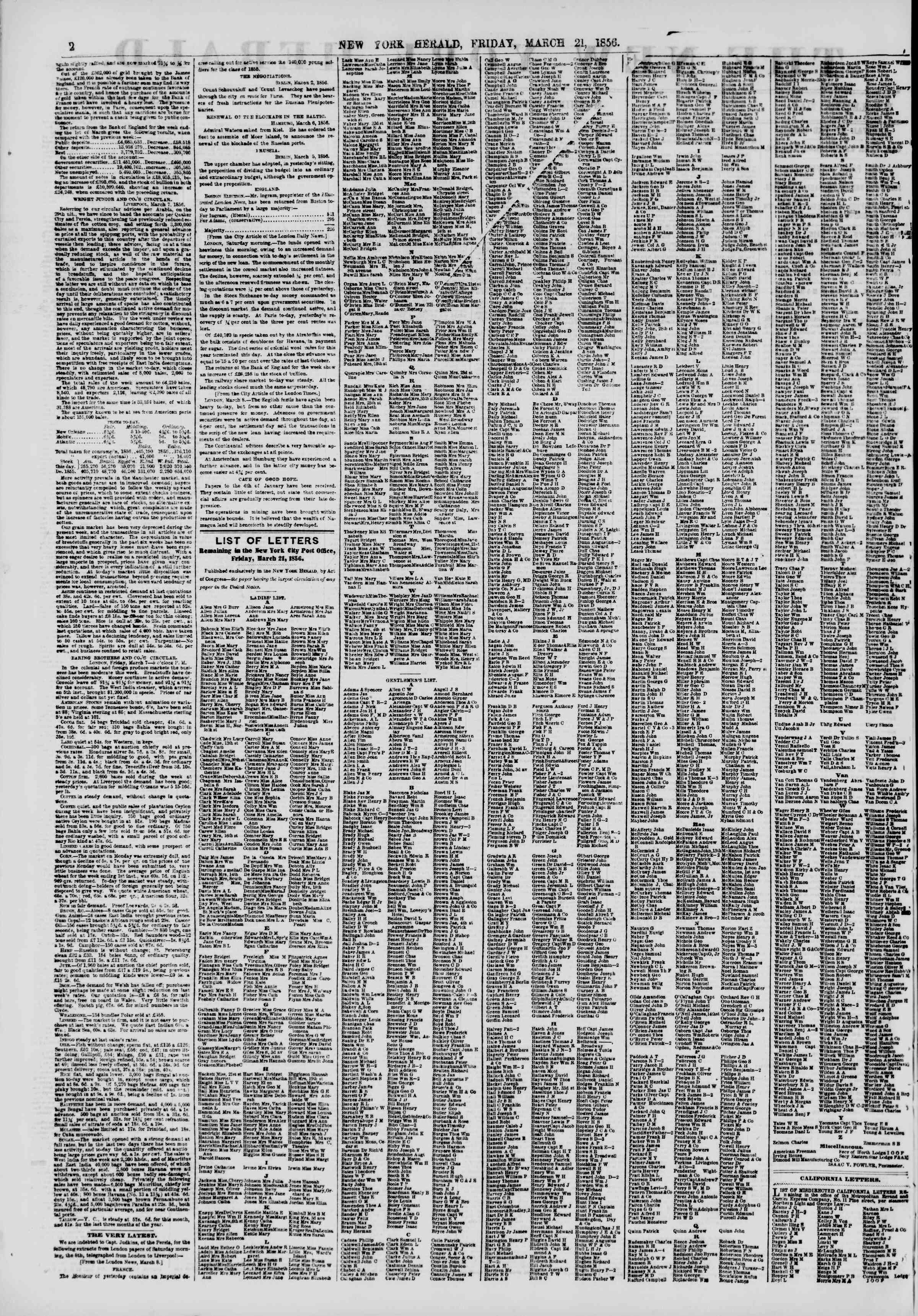 Newspaper of The New York Herald dated March 21, 1856 Page 2