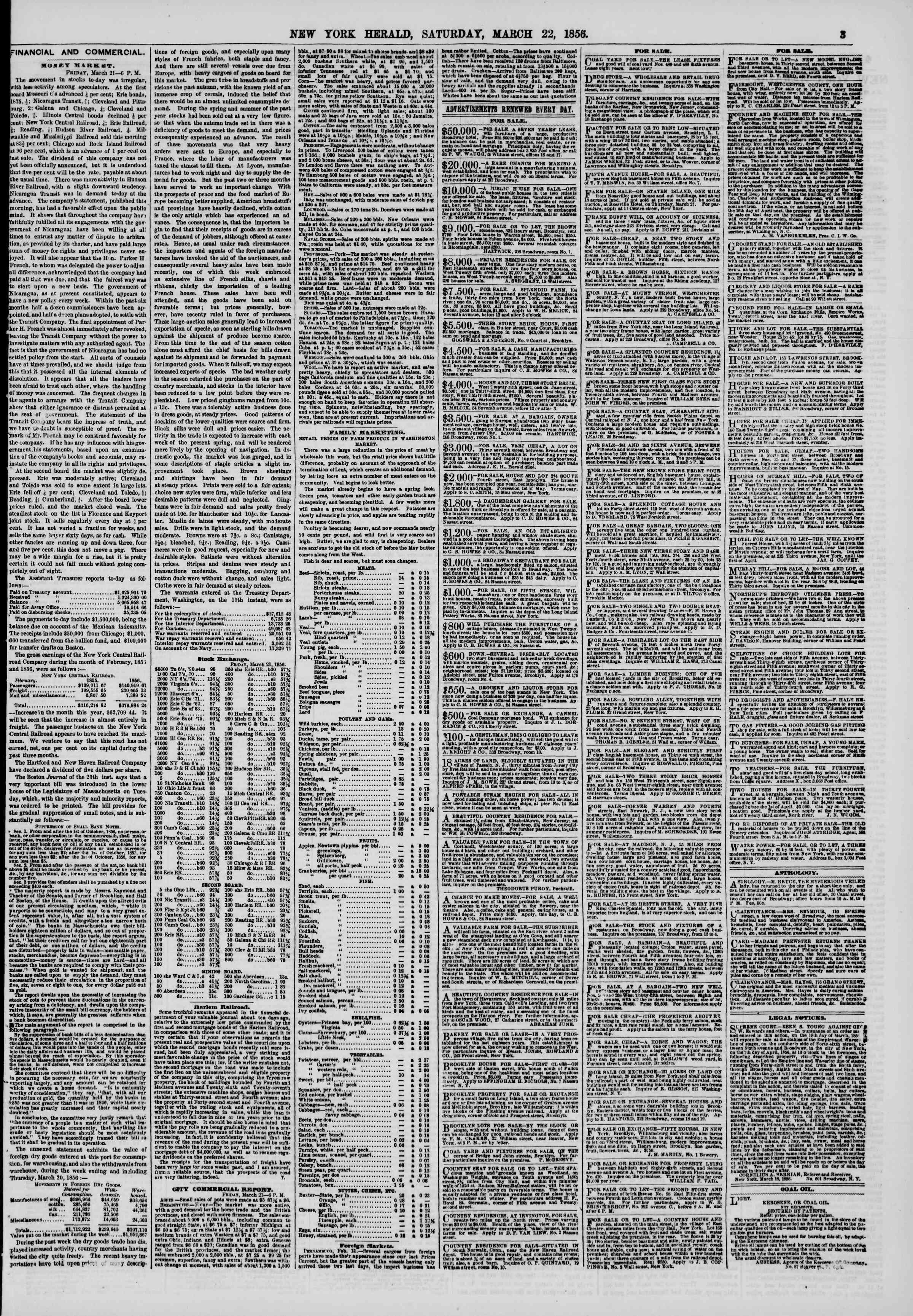 Newspaper of The New York Herald dated March 22, 1856 Page 3