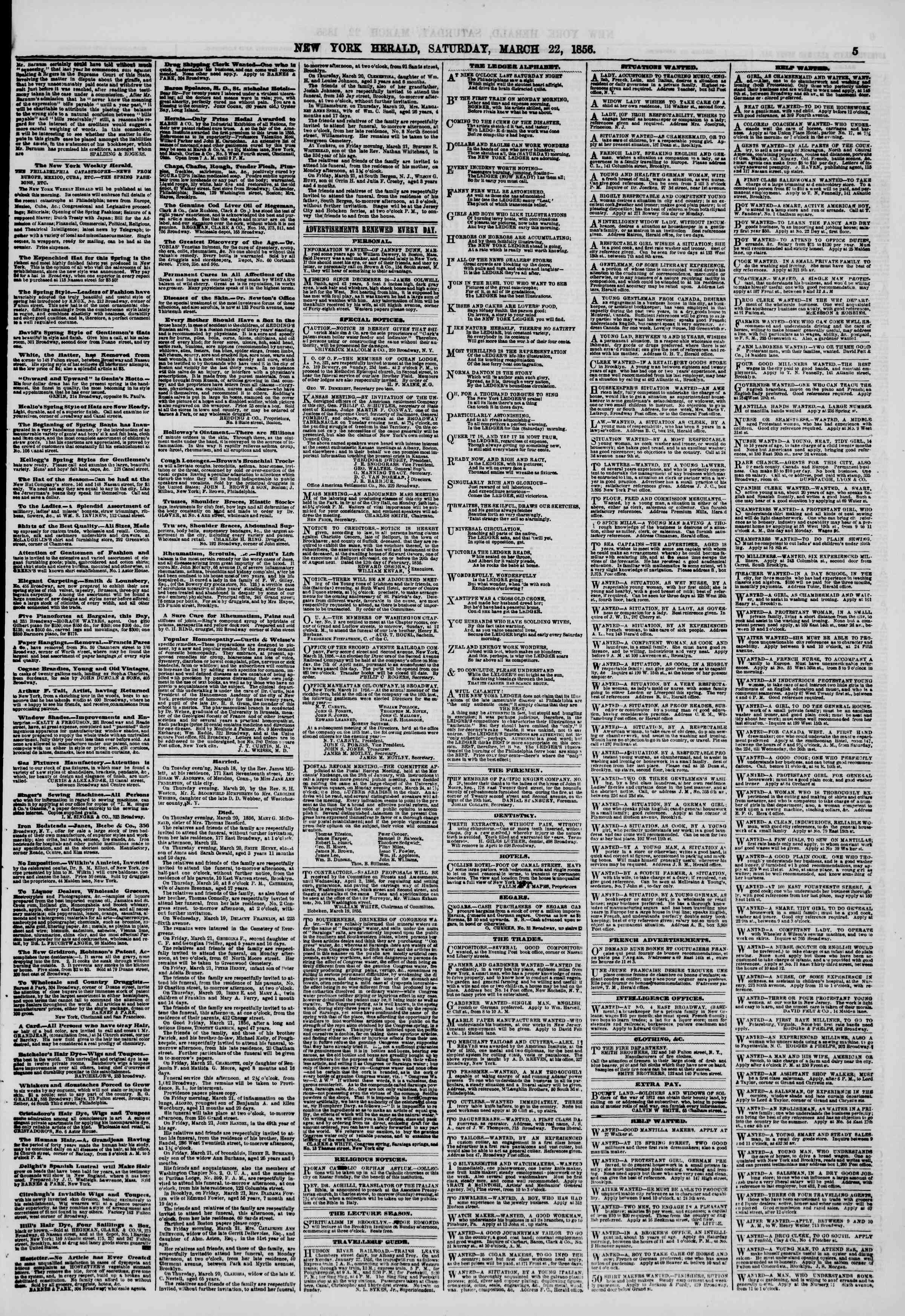 Newspaper of The New York Herald dated March 22, 1856 Page 5