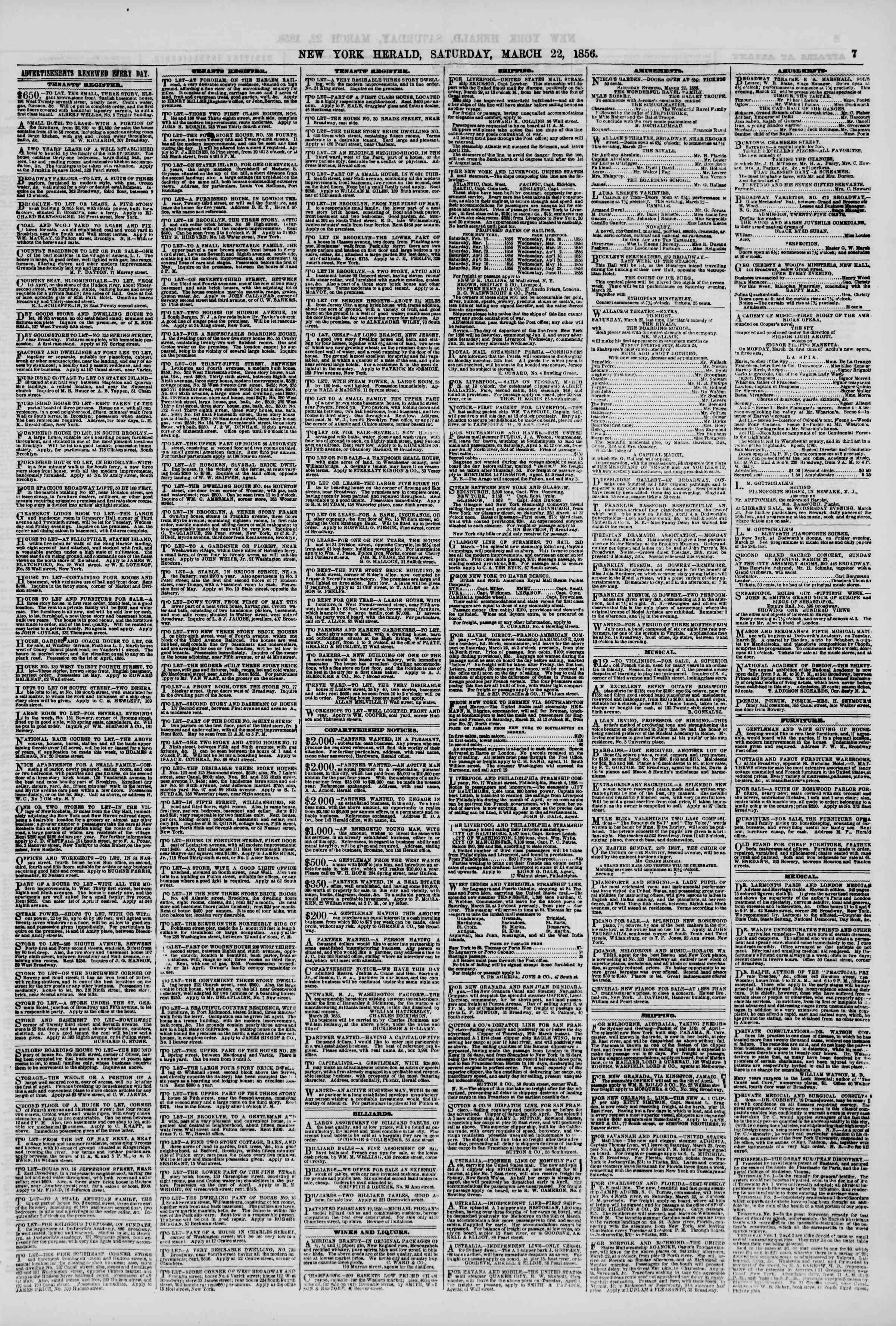 Newspaper of The New York Herald dated March 22, 1856 Page 7