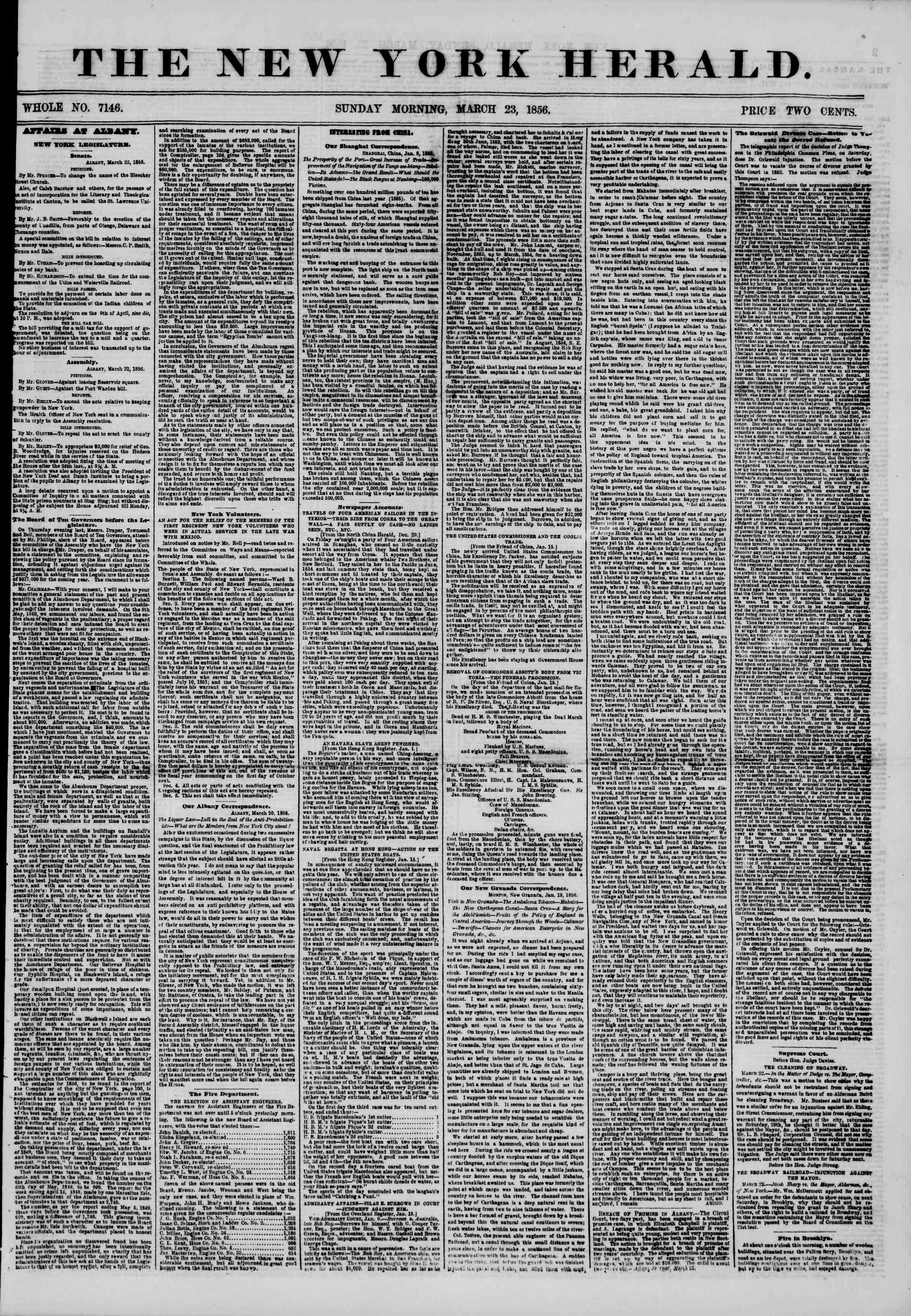 Newspaper of The New York Herald dated March 23, 1856 Page 1