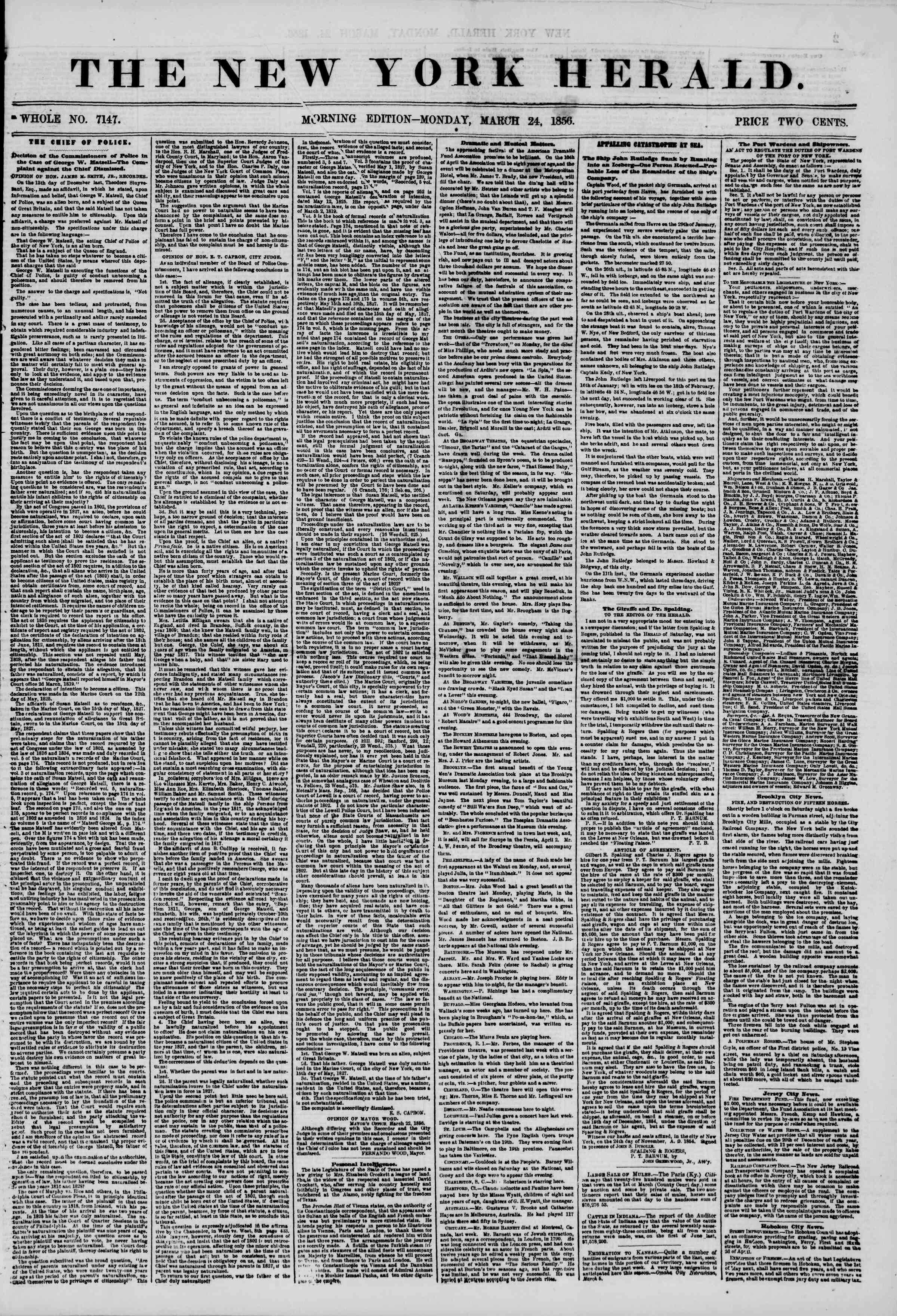 Newspaper of The New York Herald dated March 24, 1856 Page 1