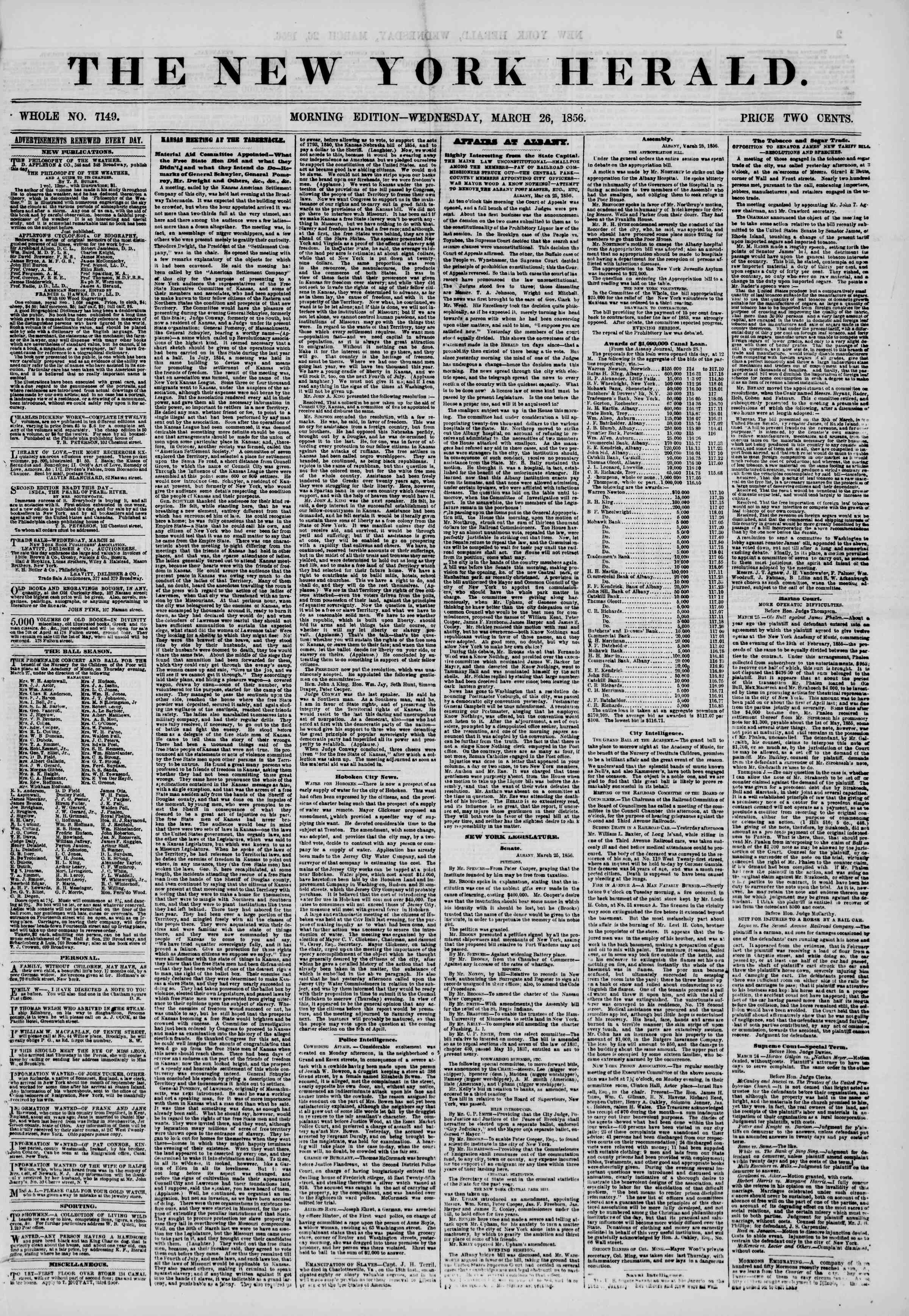 Newspaper of The New York Herald dated March 26, 1856 Page 1