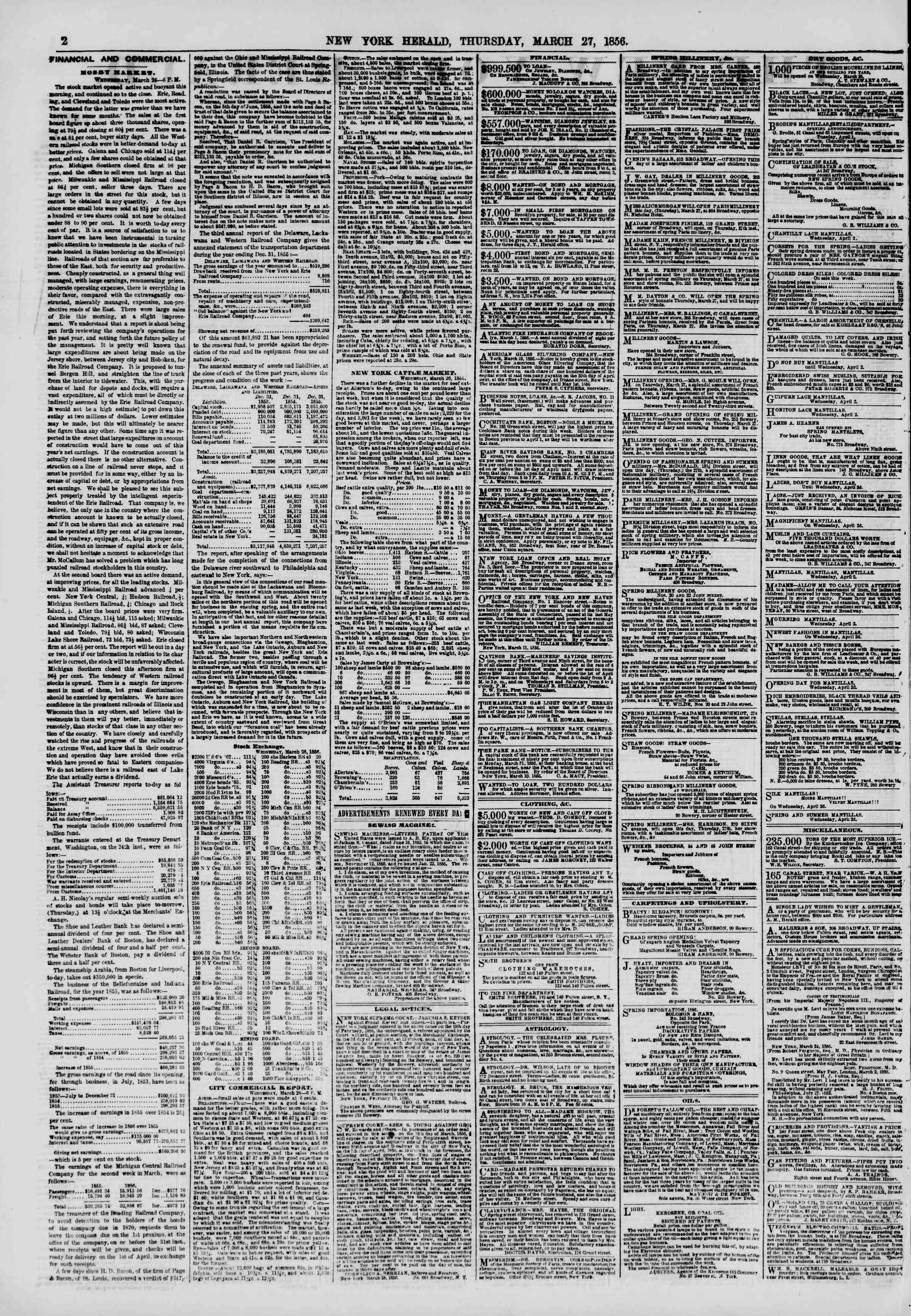 Newspaper of The New York Herald dated March 27, 1856 Page 2
