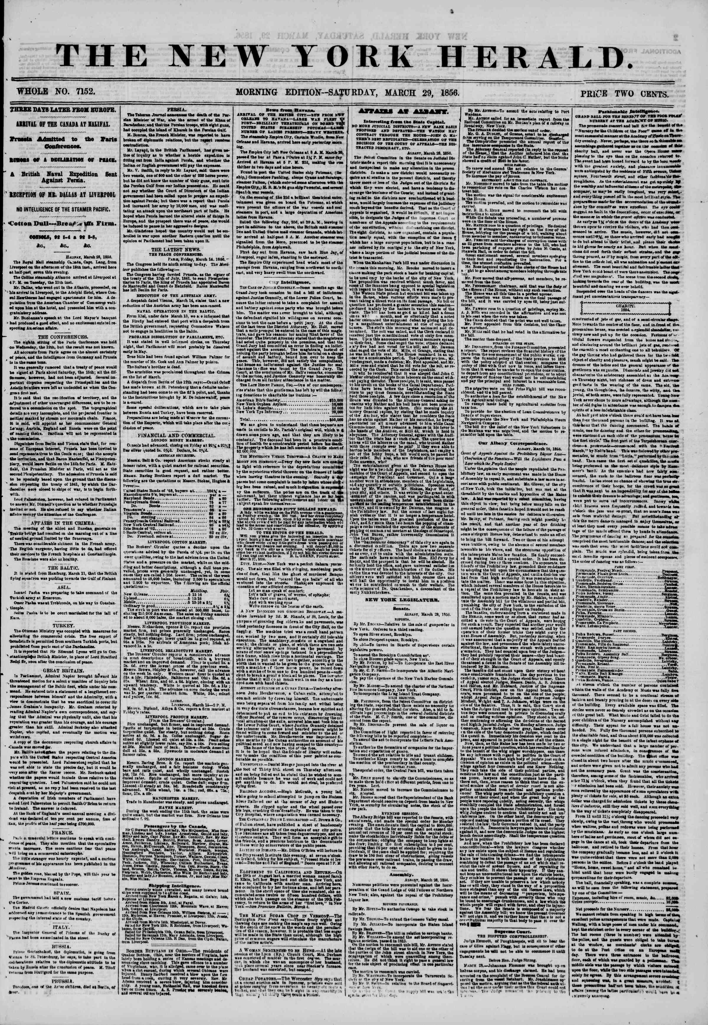 Newspaper of The New York Herald dated March 29, 1856 Page 1
