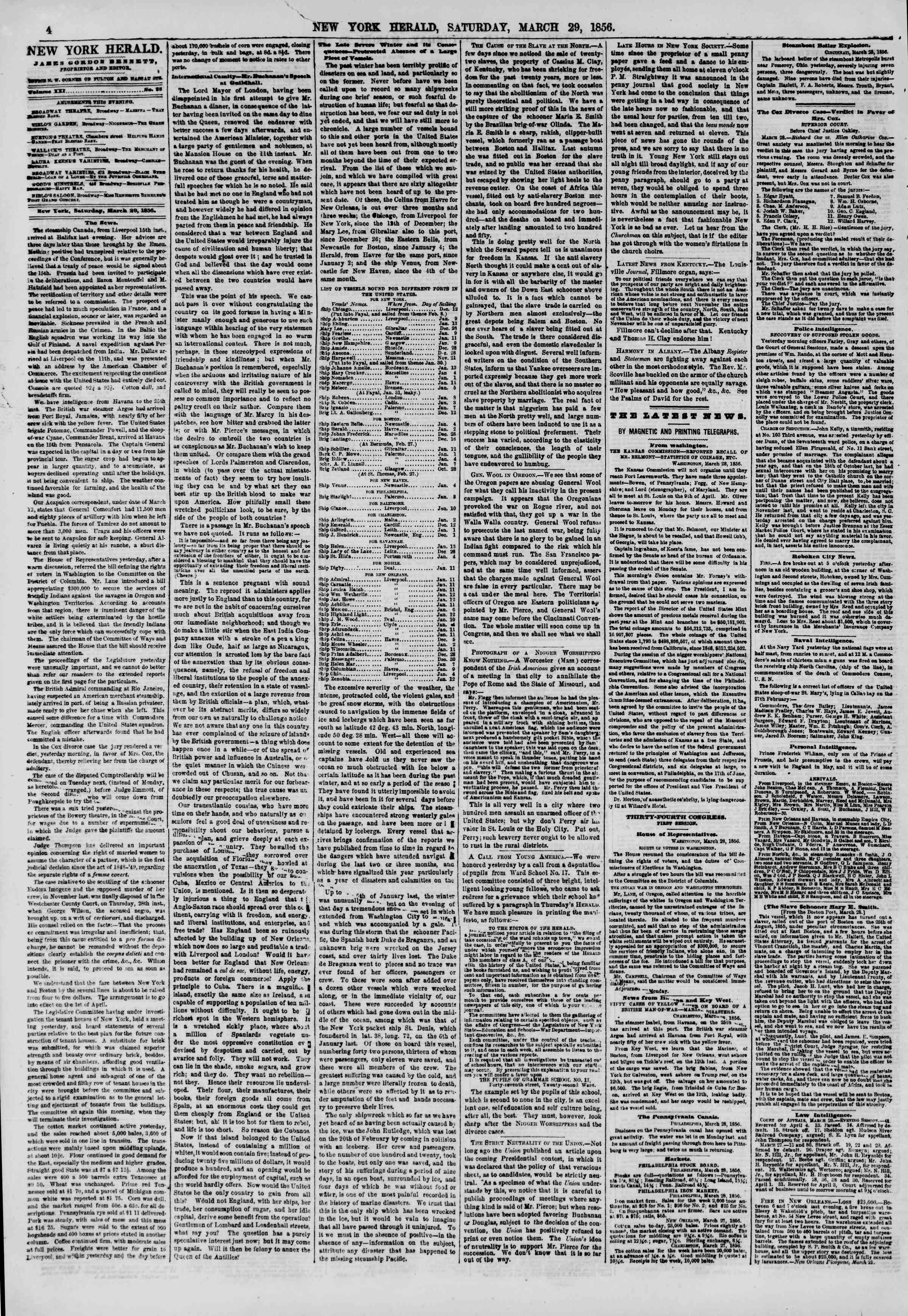 Newspaper of The New York Herald dated March 29, 1856 Page 4