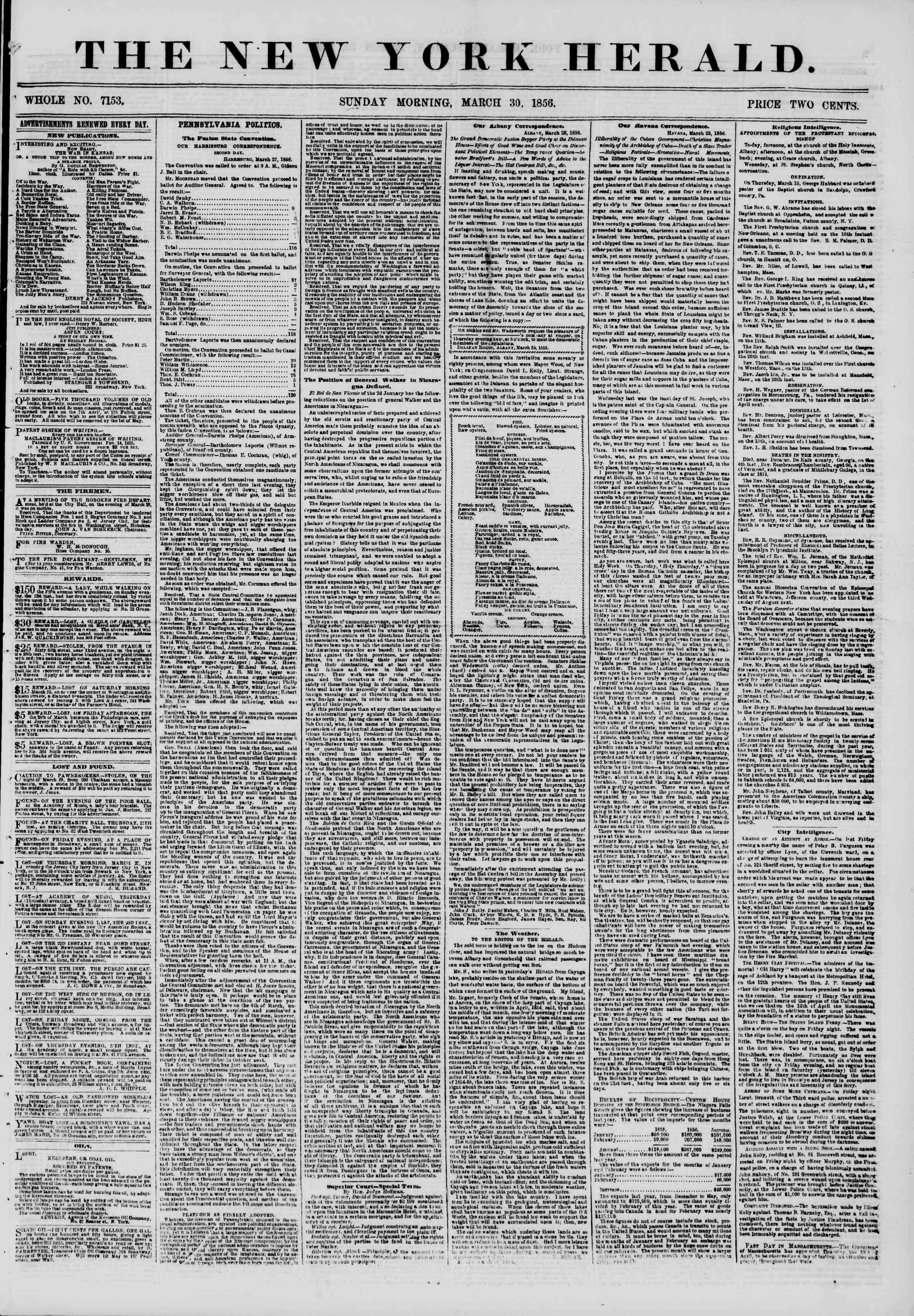 Newspaper of The New York Herald dated March 30, 1856 Page 1