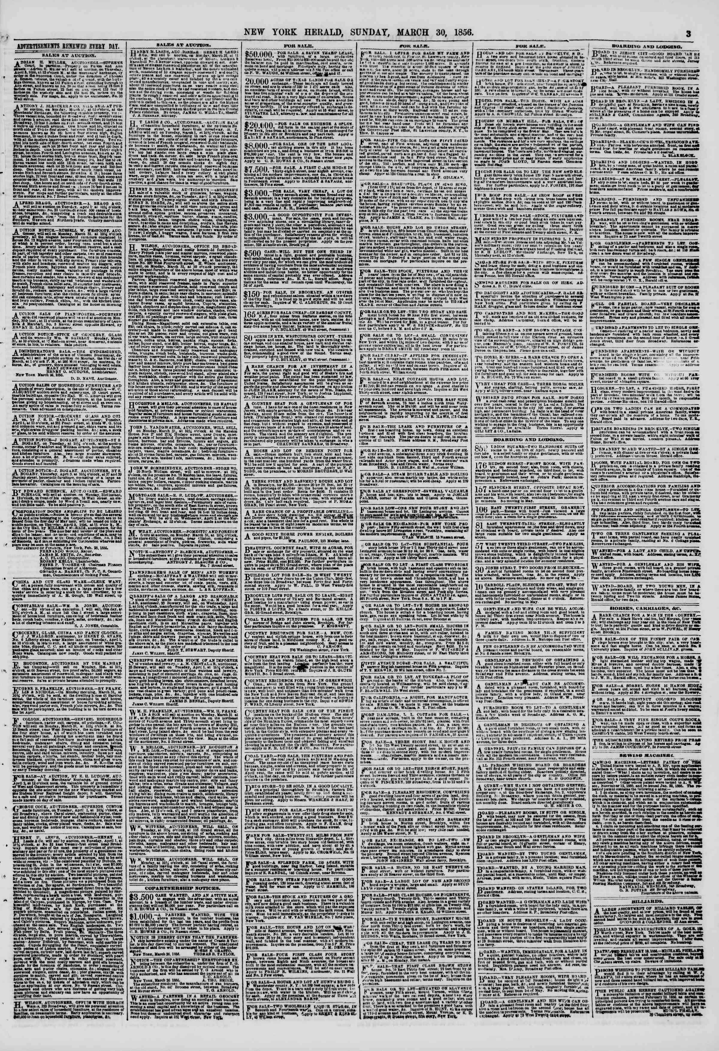 Newspaper of The New York Herald dated March 30, 1856 Page 3