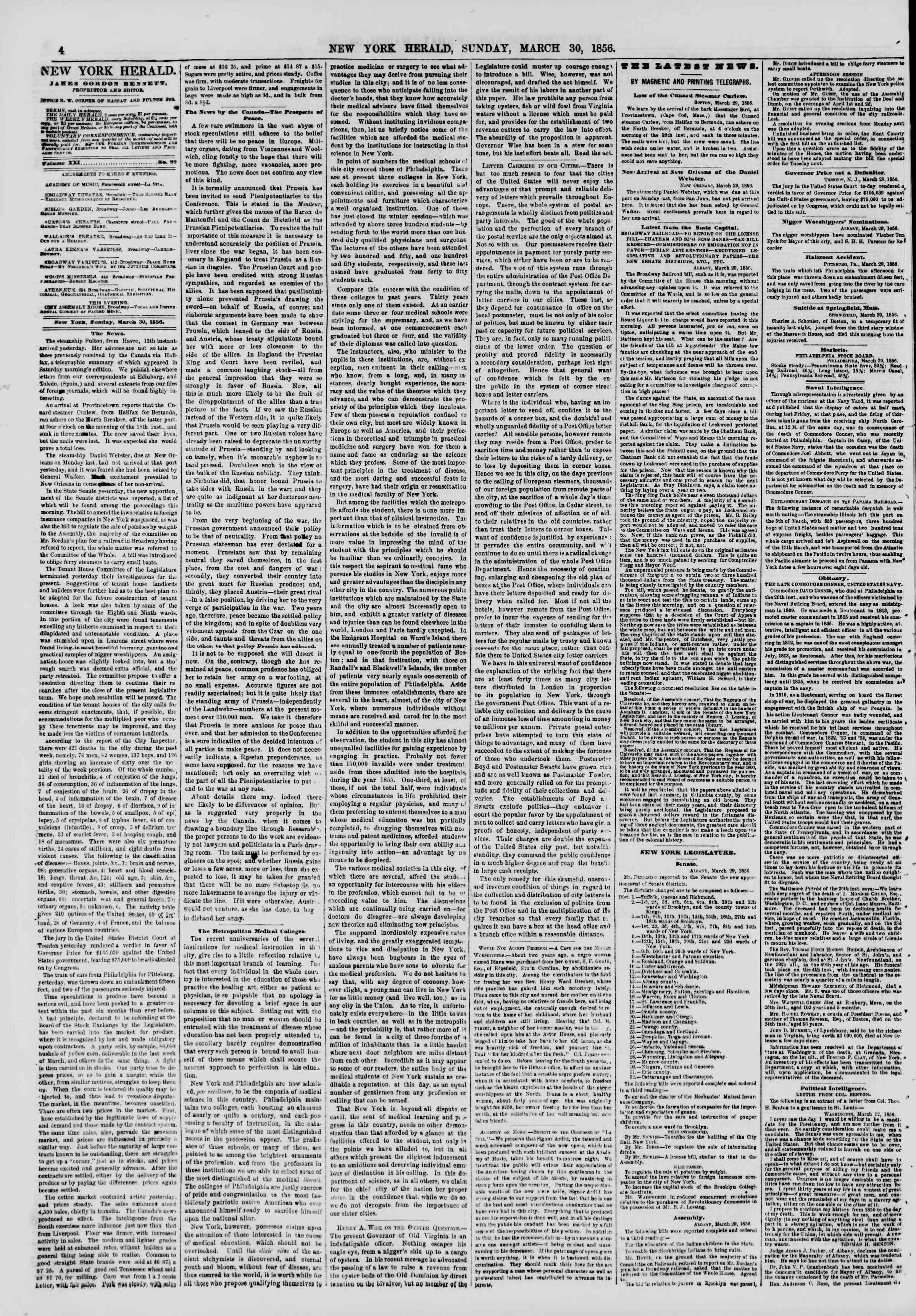 Newspaper of The New York Herald dated March 30, 1856 Page 4