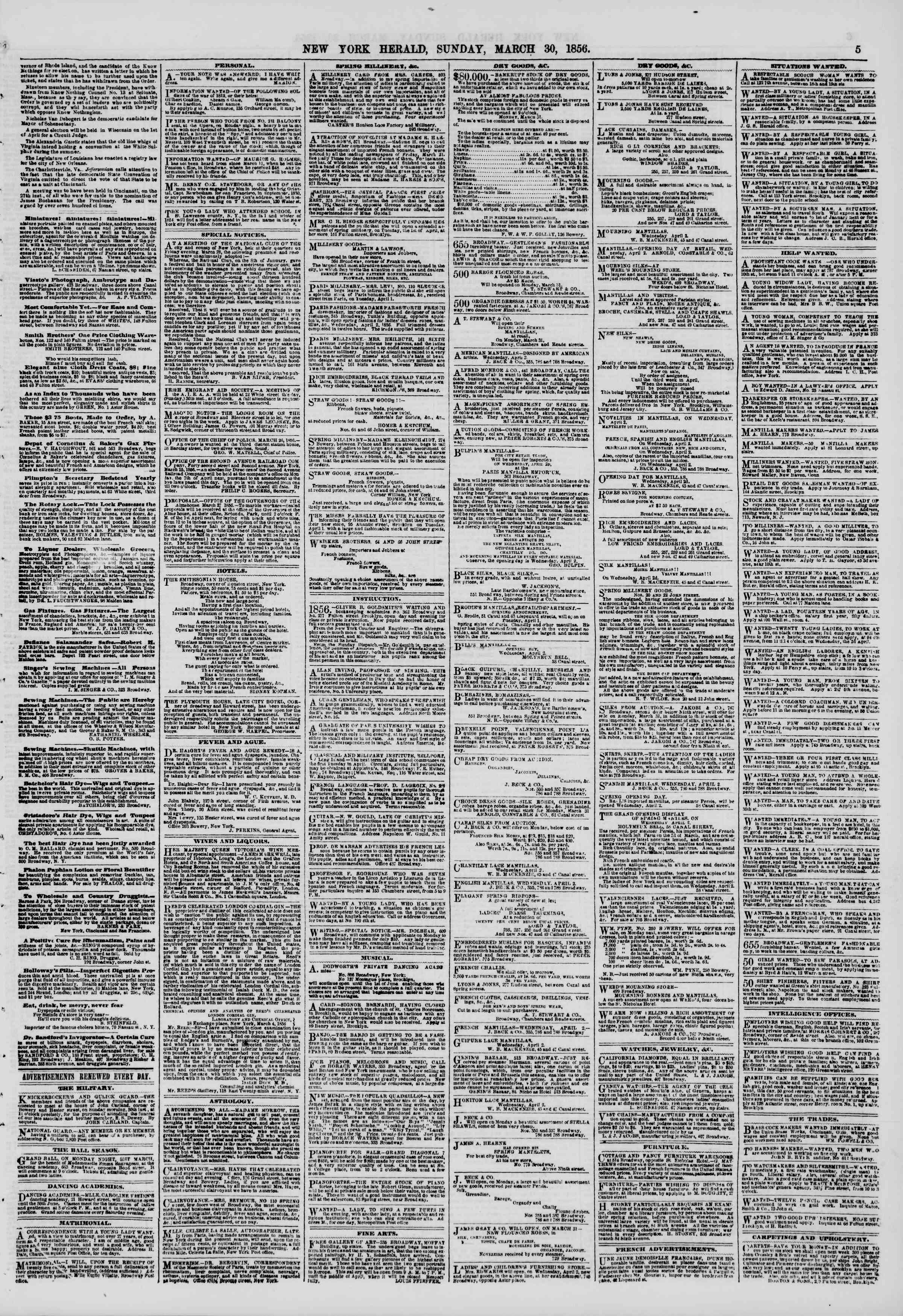 Newspaper of The New York Herald dated March 30, 1856 Page 5