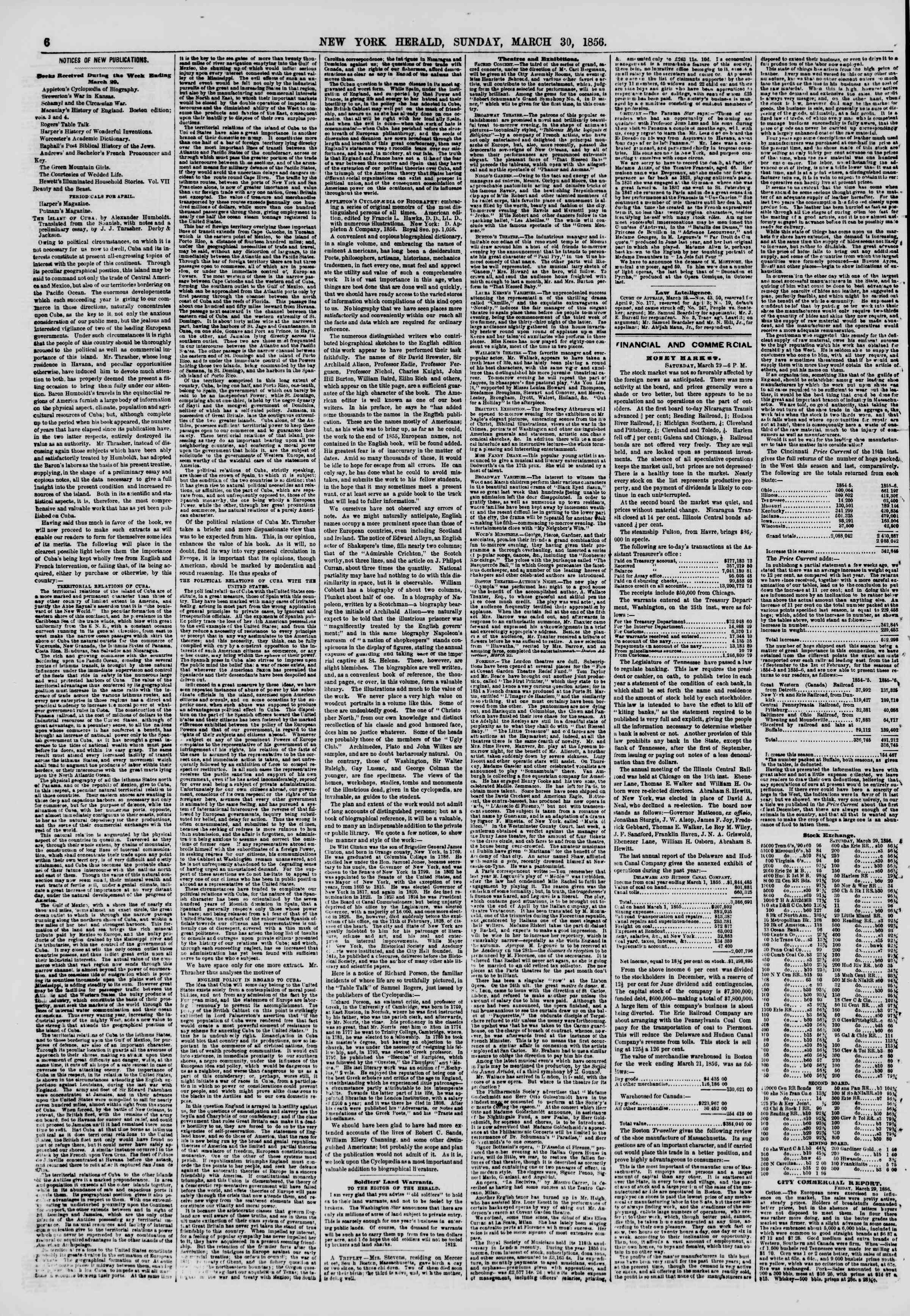 Newspaper of The New York Herald dated March 30, 1856 Page 6