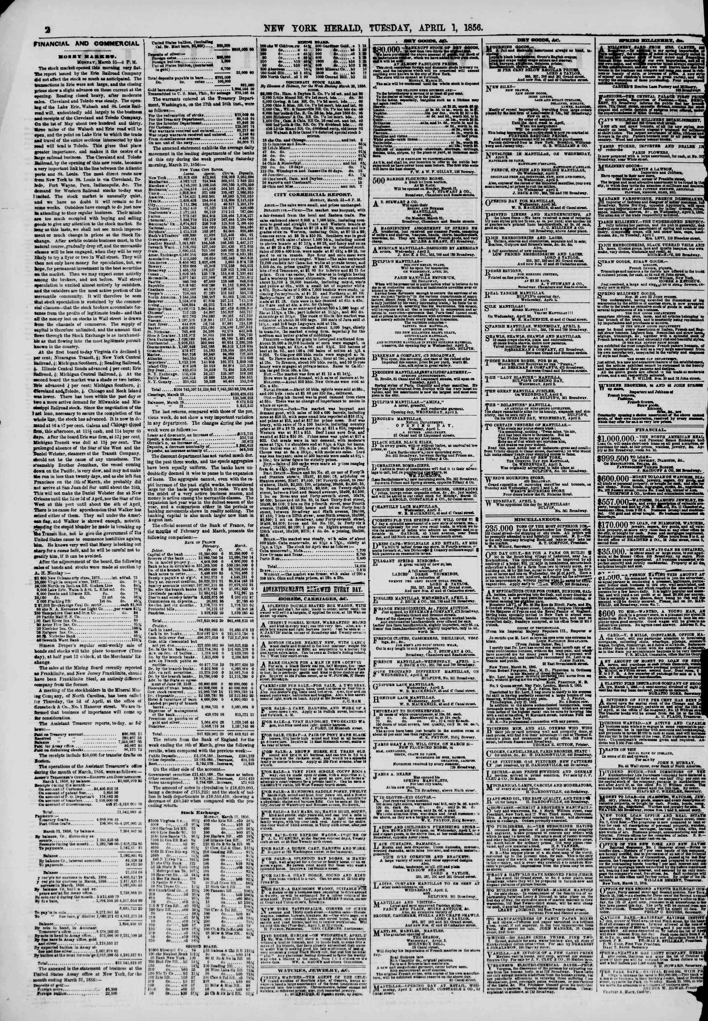 Newspaper of The New York Herald dated April 1, 1856 Page 2
