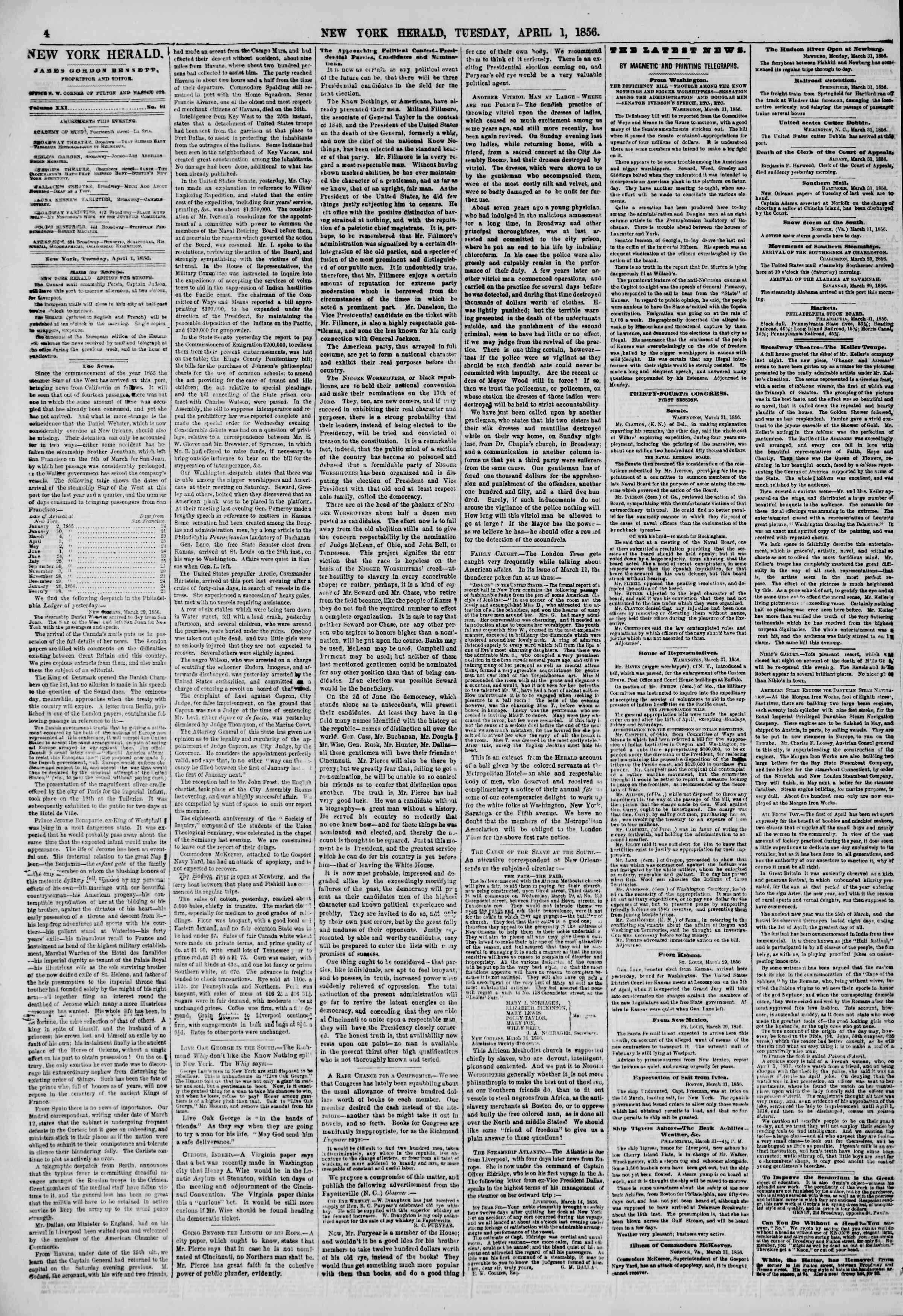 Newspaper of The New York Herald dated April 1, 1856 Page 4