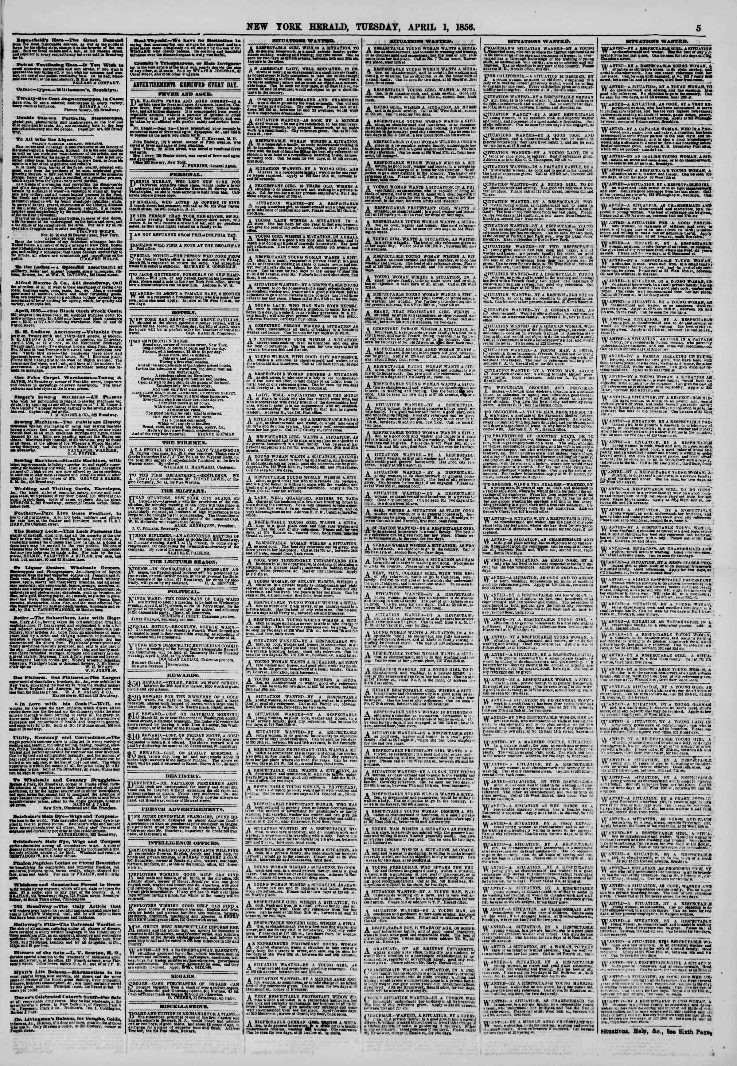 Newspaper of The New York Herald dated April 1, 1856 Page 5